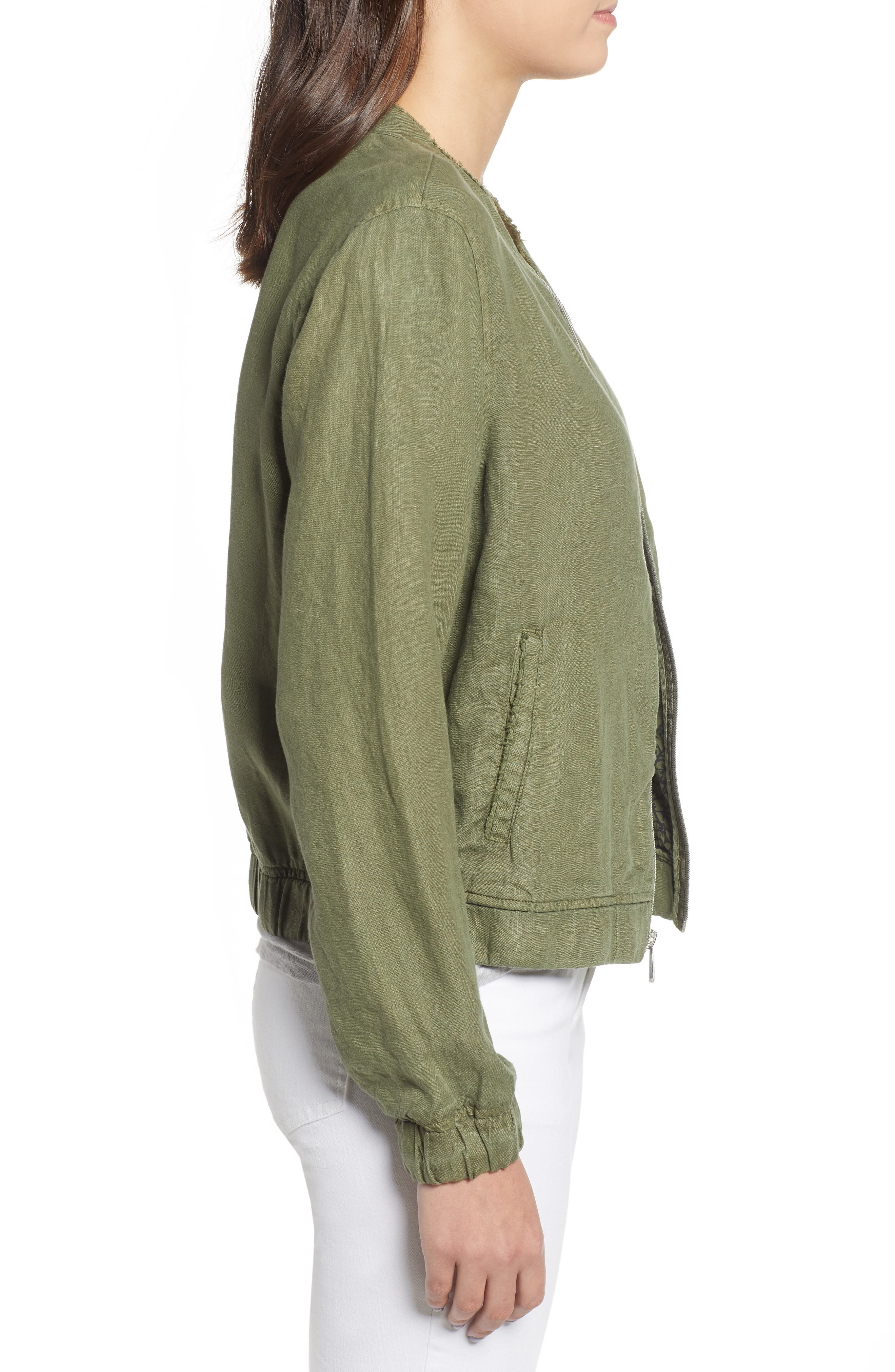 Linen Bomber Jacket,                             Alternate thumbnail 3, color,                             300