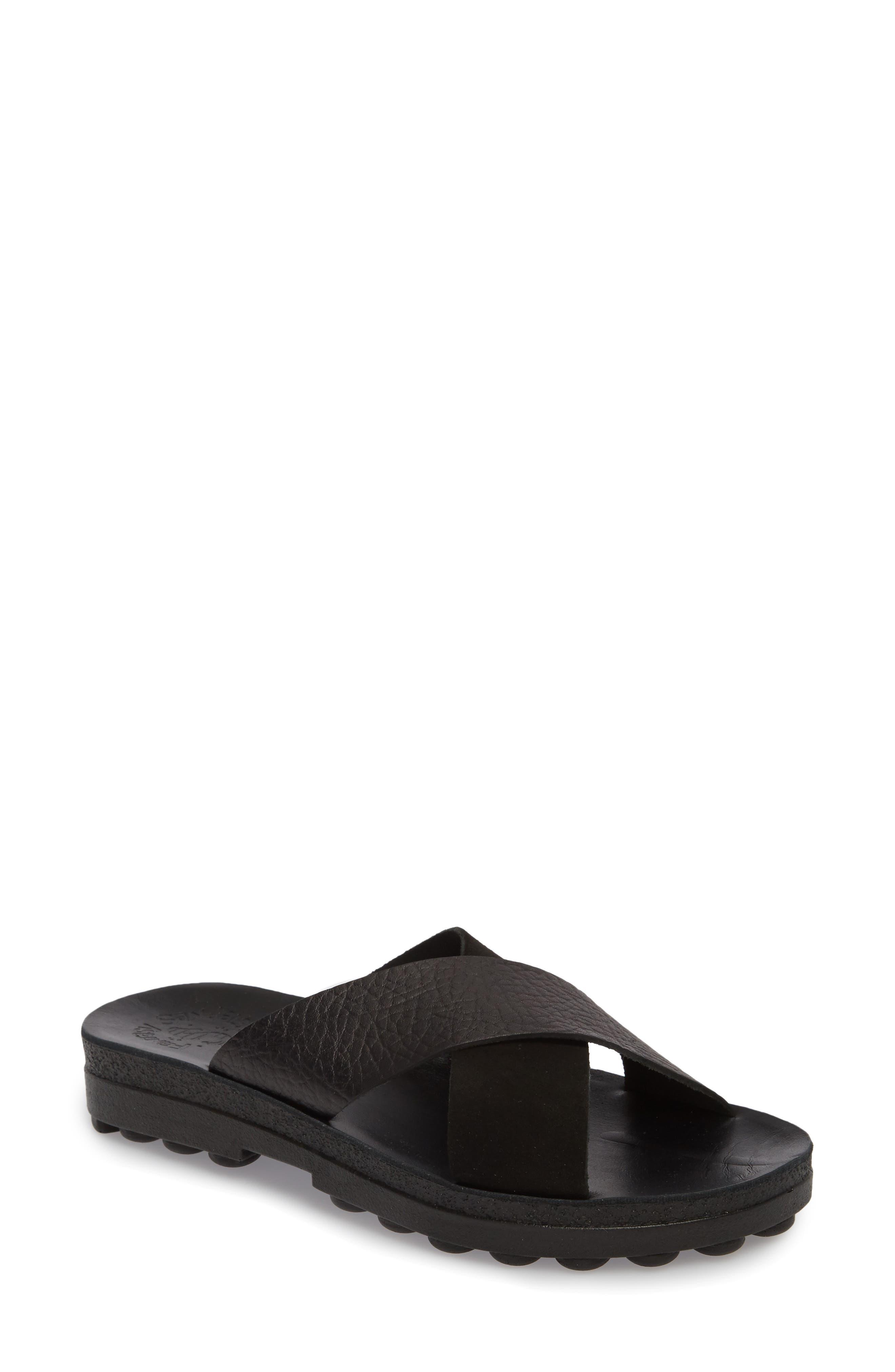 Charis Slide Sandal,                         Main,                         color, BLACK DOLARO LEATHER