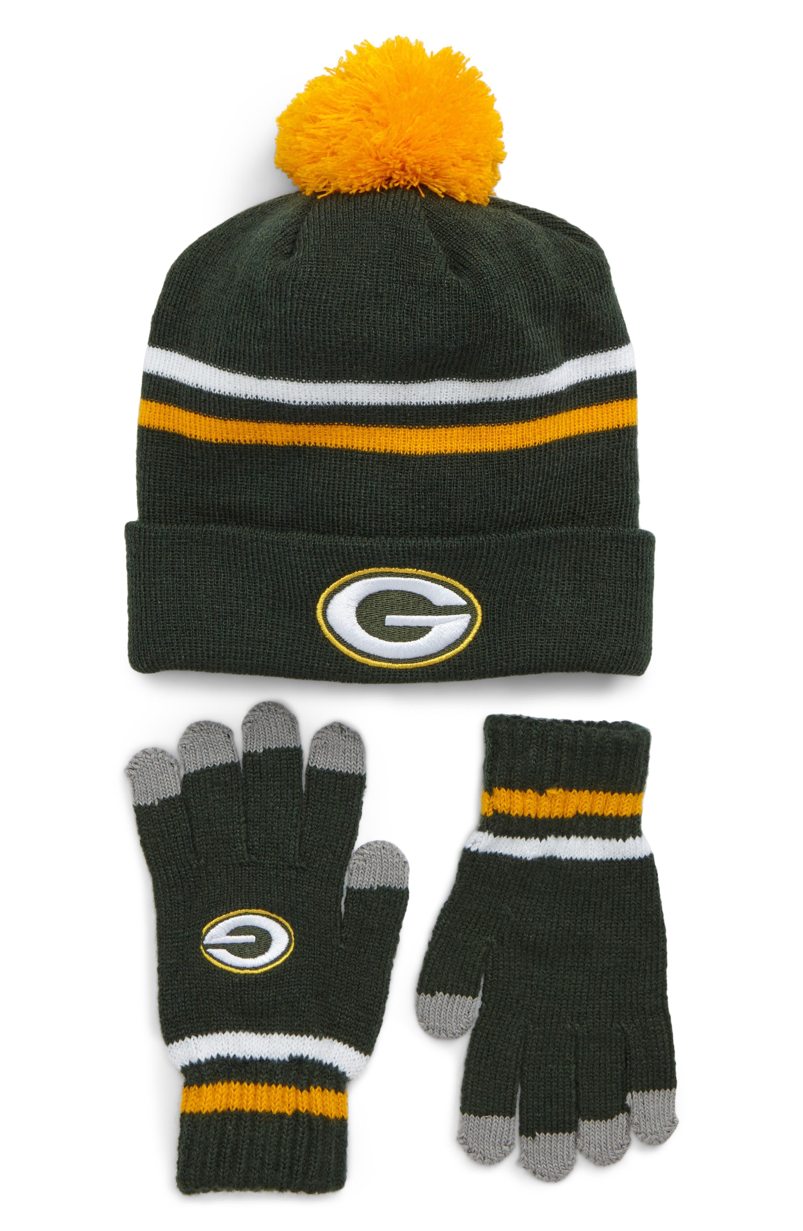 NFL Logo Pom Beanie & Tech Gloves Set,                             Main thumbnail 1, color,                             306