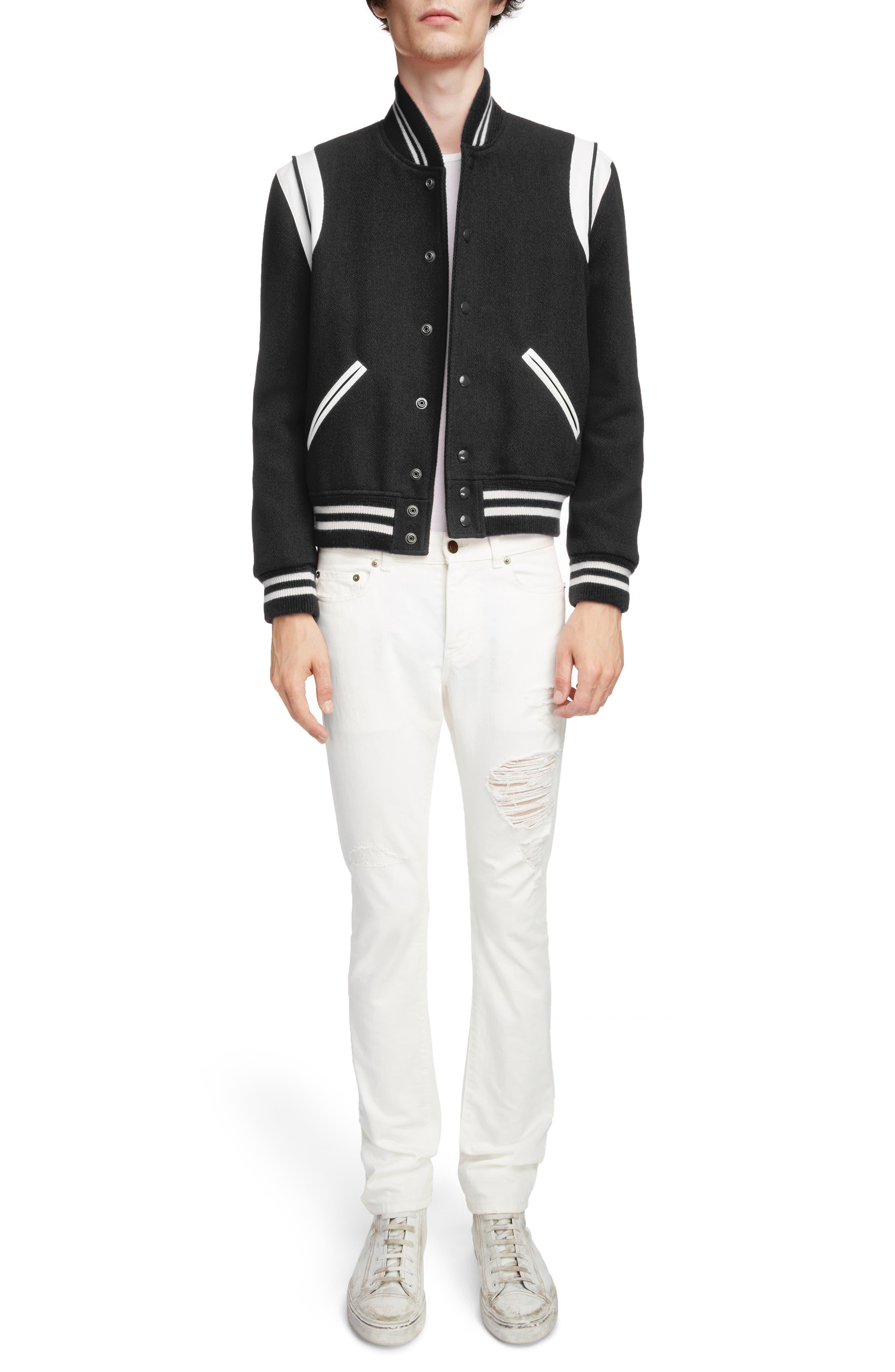 Teddy Wool Varsity Jacket,                             Alternate thumbnail 6, color,                             BLACK