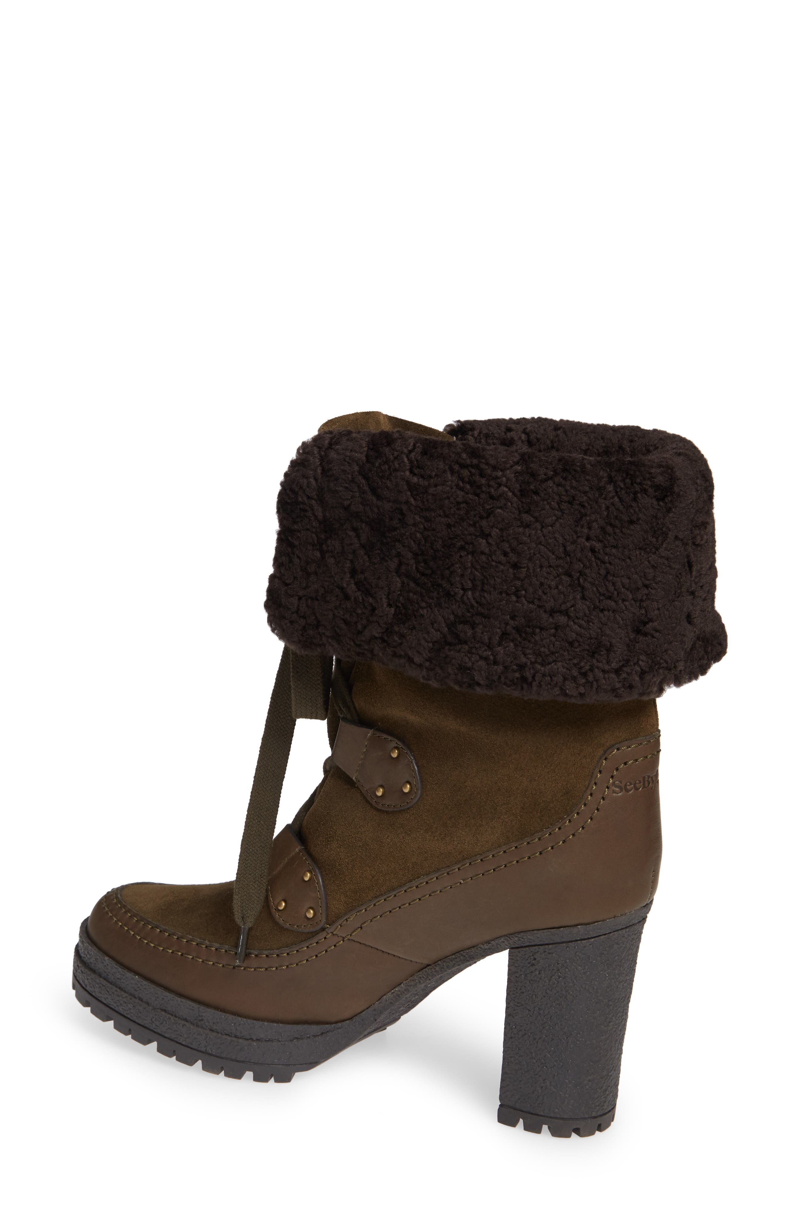 SEE BY CHLOÉ,                             Verena Shearling Cuff Bootie,                             Alternate thumbnail 2, color,                             300