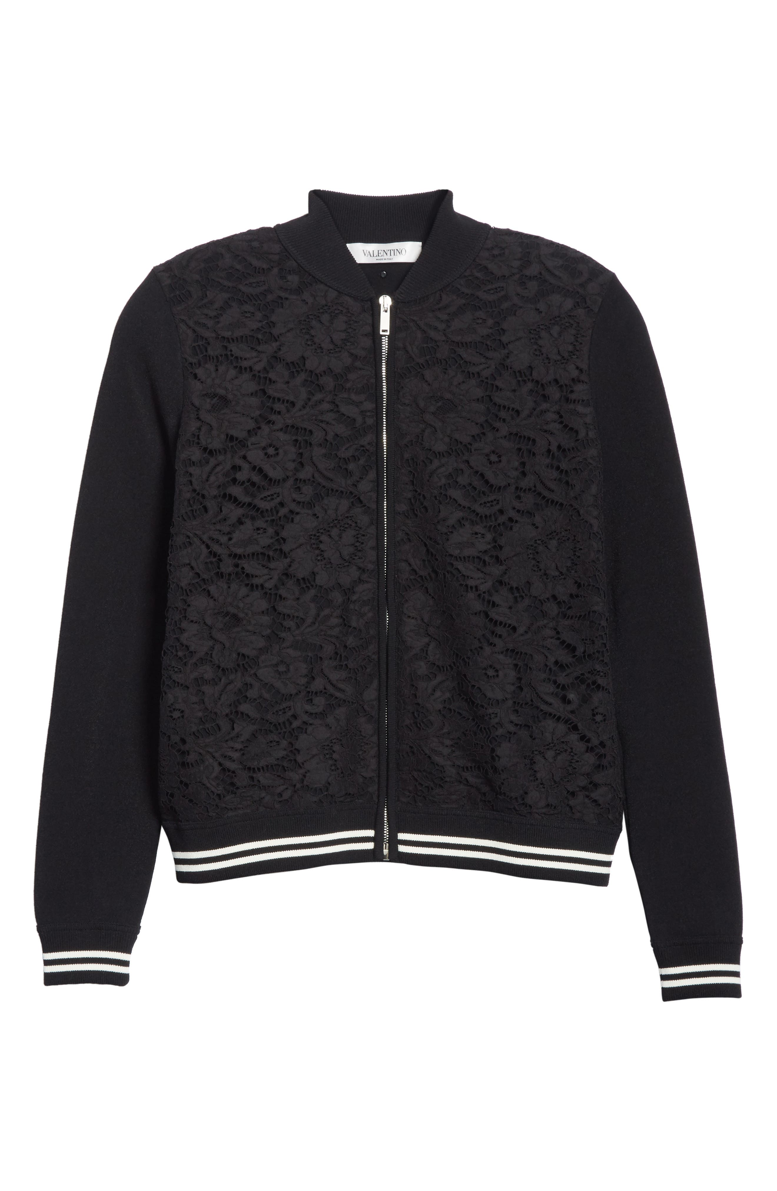 Lace Front Bomber Jacket,                             Alternate thumbnail 5, color,                             001
