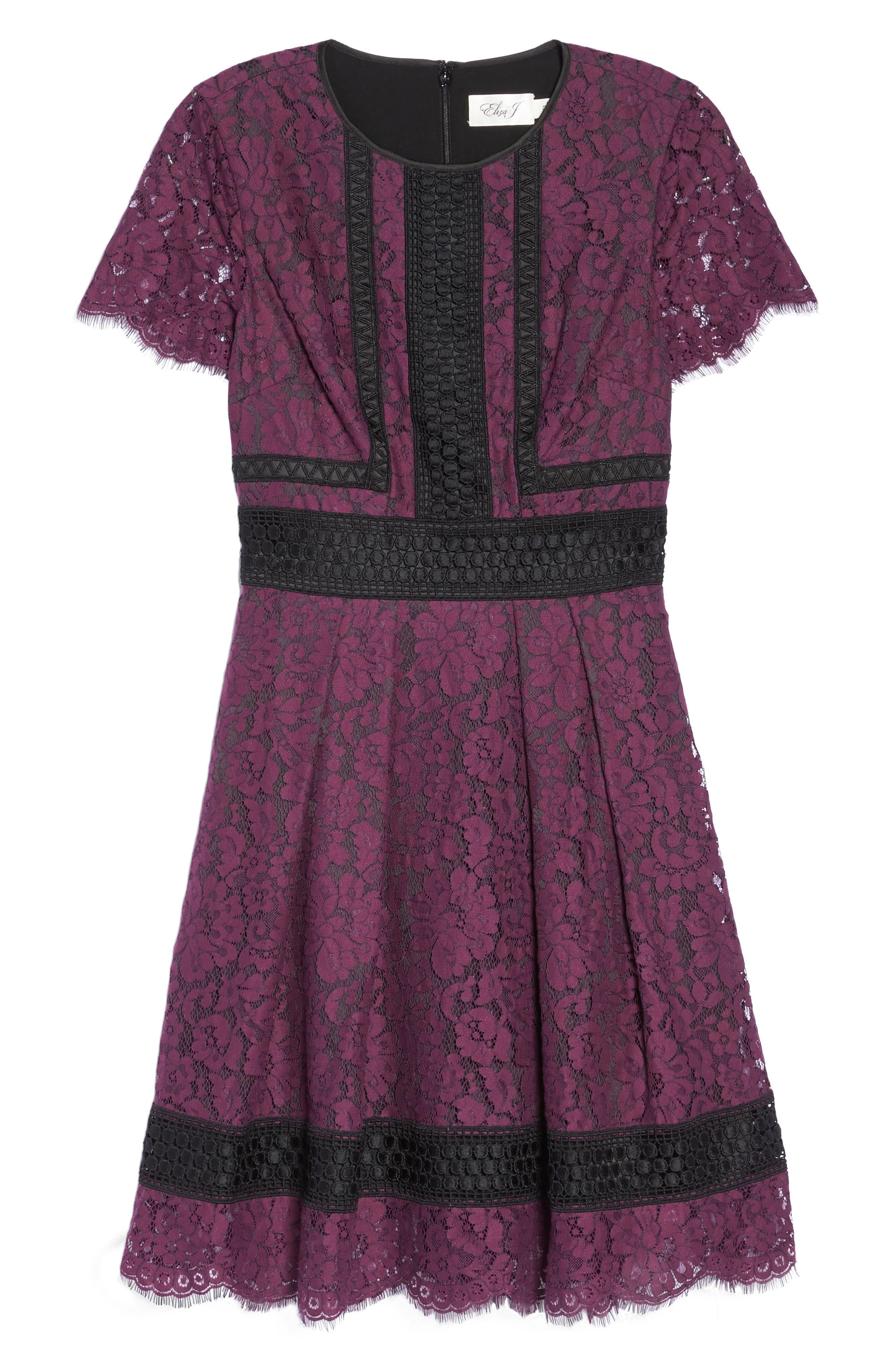 Lace Fit & Flare Dress,                             Alternate thumbnail 6, color,                             932