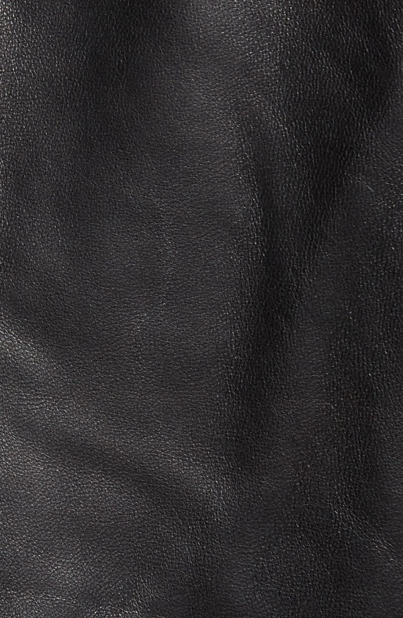 Lambskin Leather Down Jacket with Genuine Shearling Collar,                             Alternate thumbnail 5, color,                             001