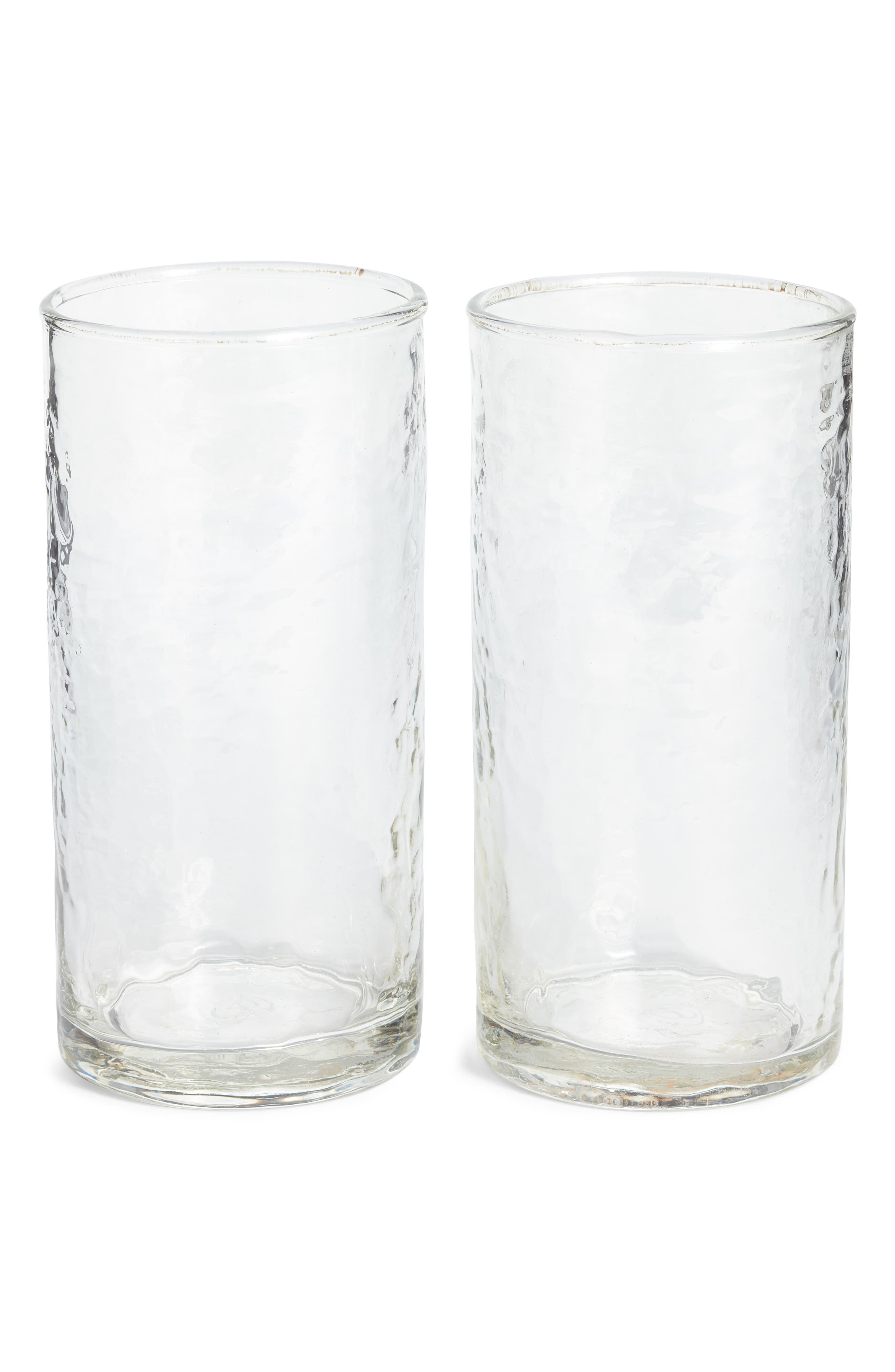 Set of Two Hammered Tall Glasses,                             Main thumbnail 1, color,                             960