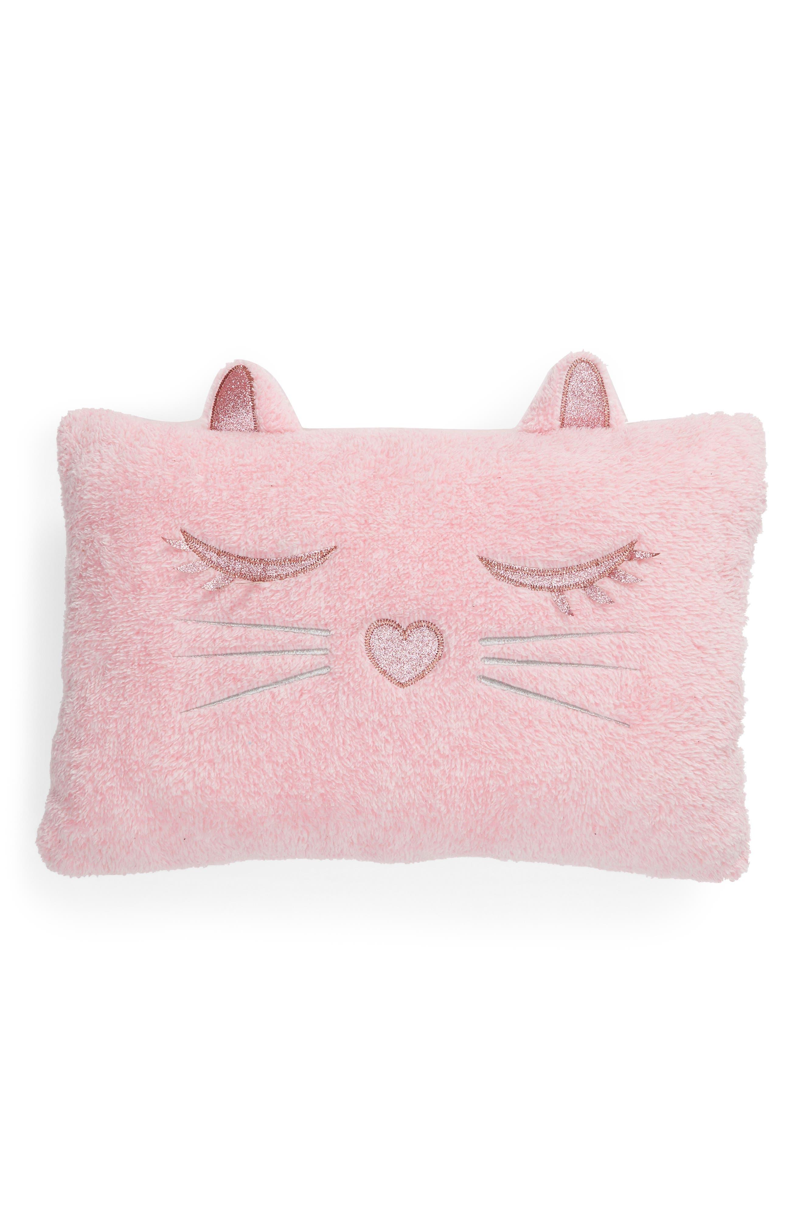 Cat Accent Pillow,                             Main thumbnail 1, color,                             PINK COMBO