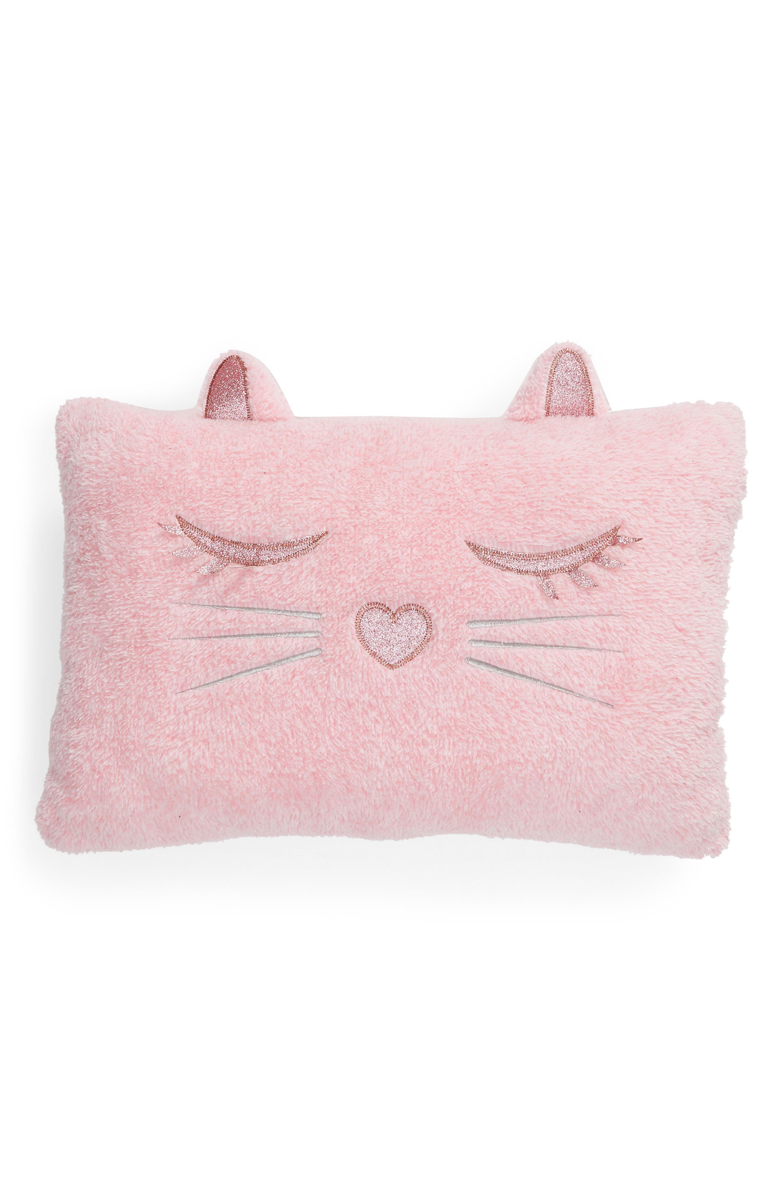 Cat Accent Pillow,                         Main,                         color, PINK COMBO