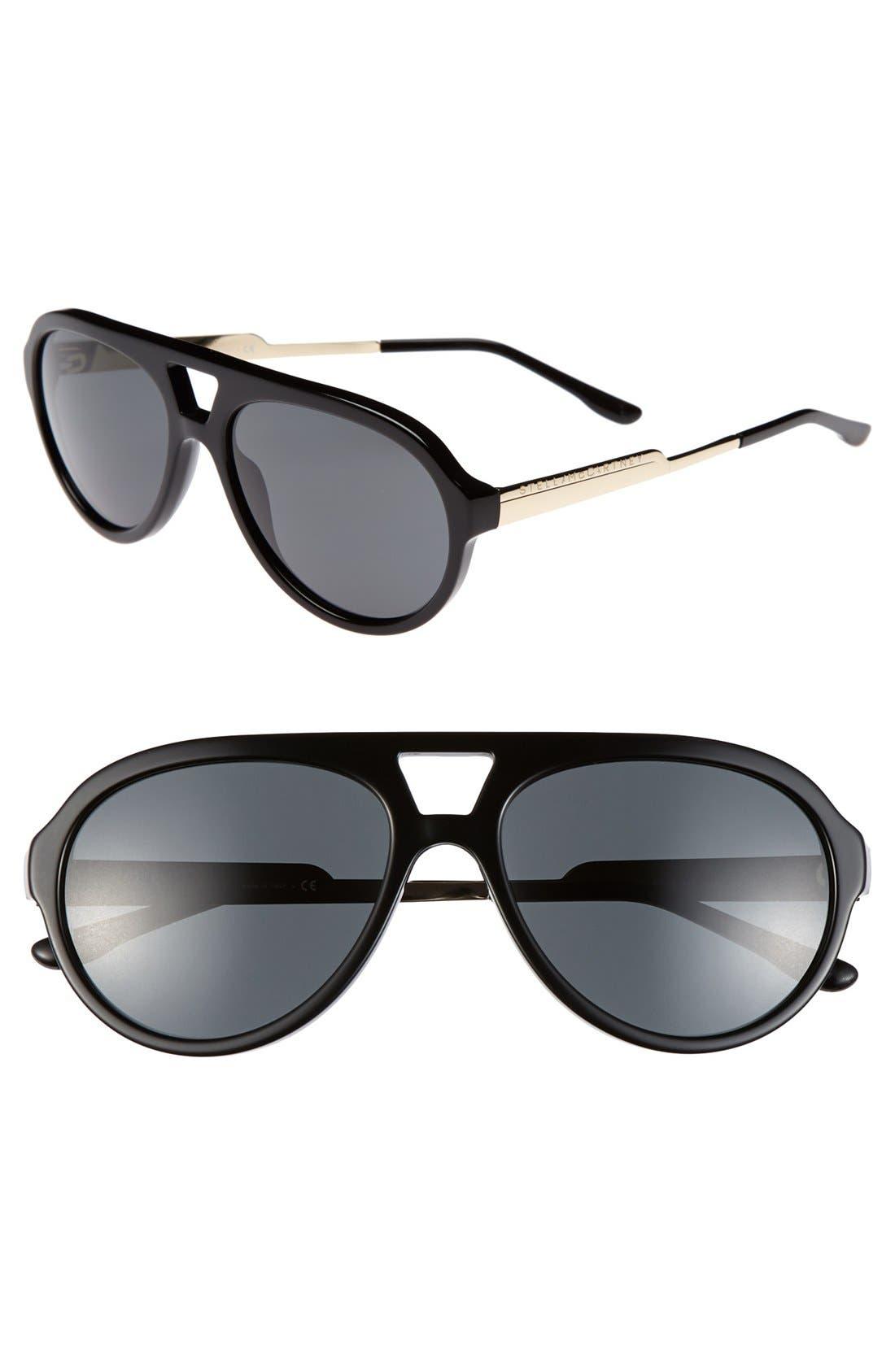 57mm Aviator Sunglasses, Main, color, 001