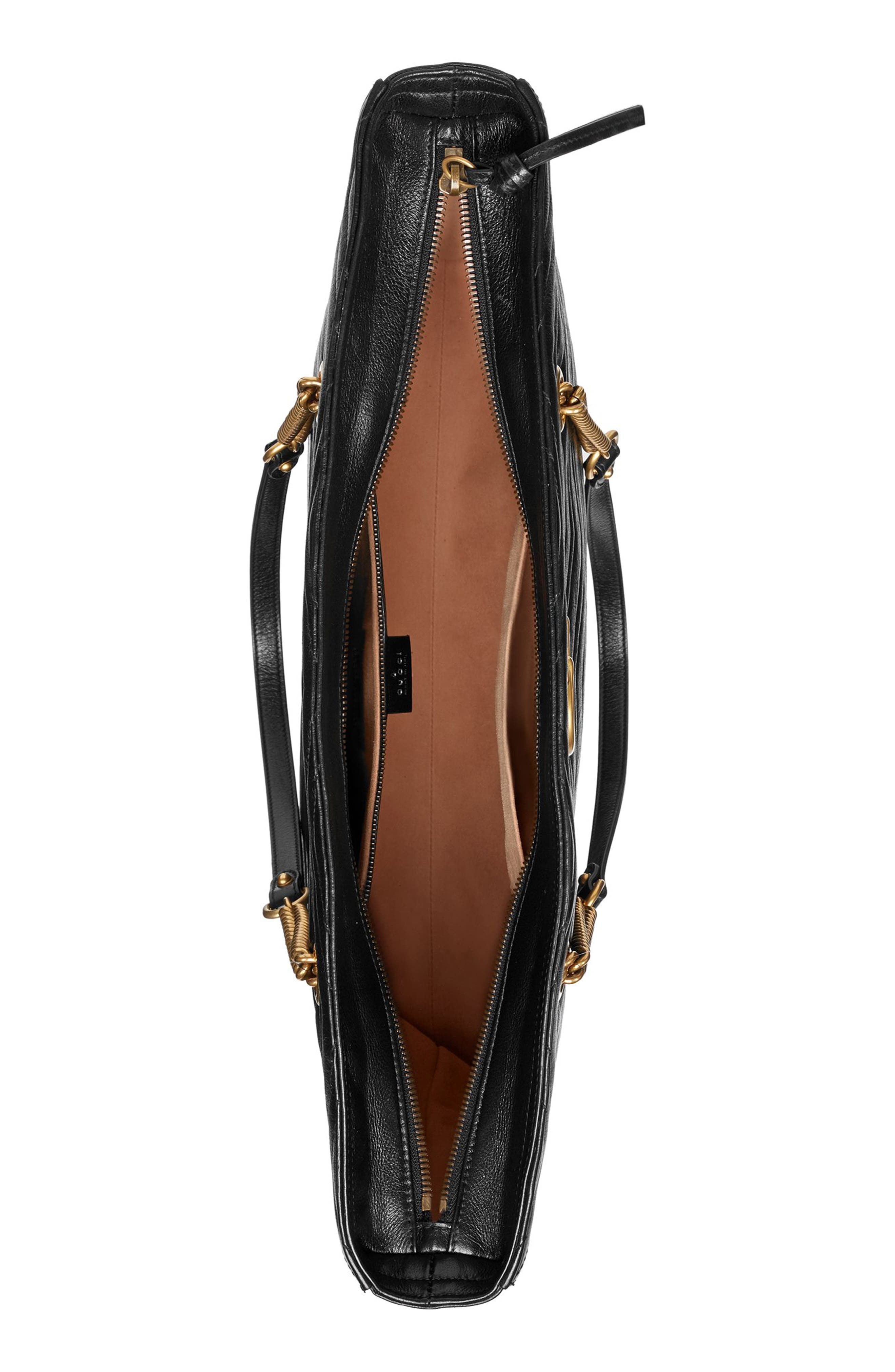 GG Marmont 2.0 Matelassé Leather North/South Tote Bag,                             Alternate thumbnail 3, color,                             NERO/ NERO