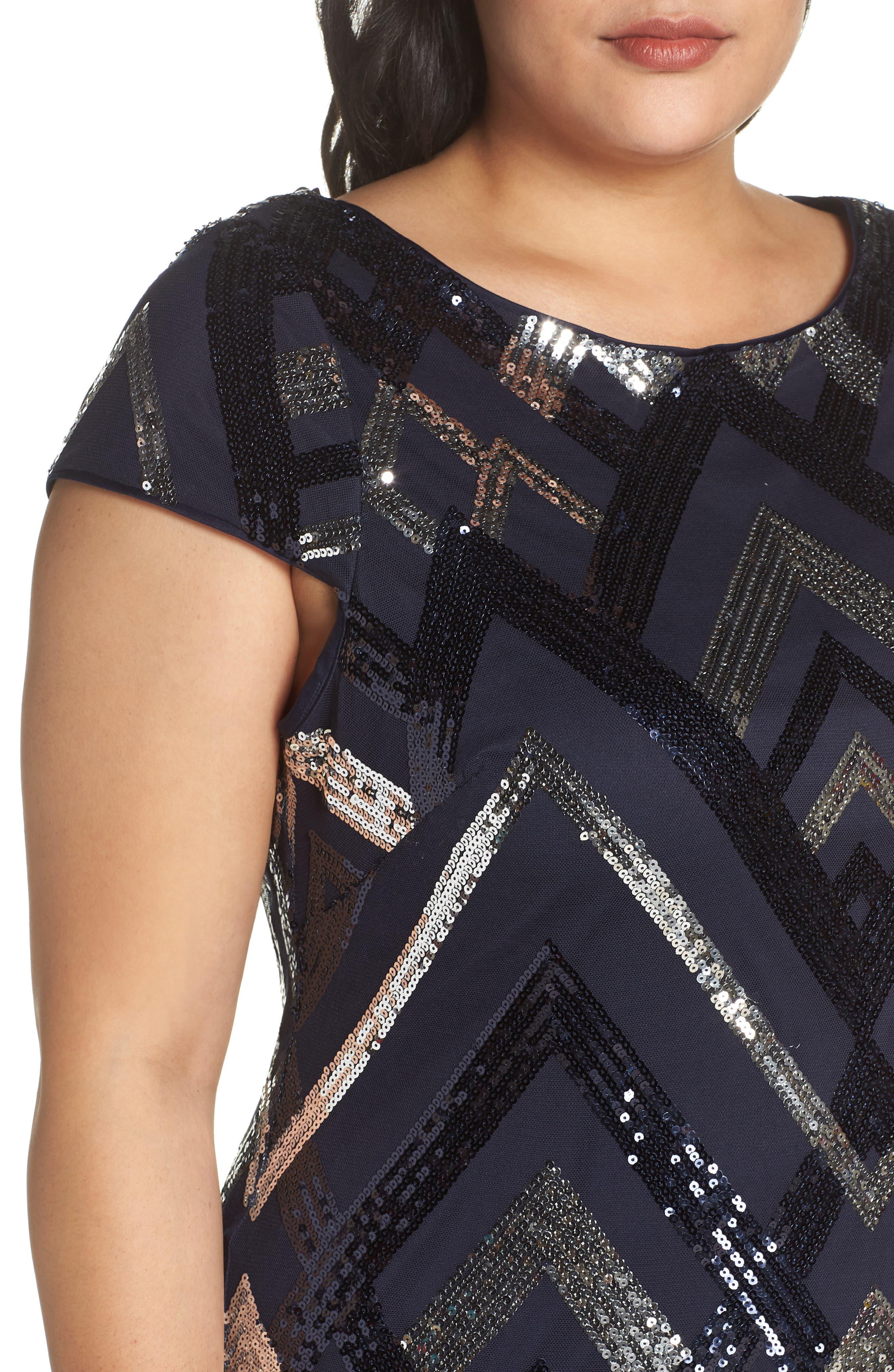 Sequin Cap Sleeve Sheath Dress,                             Alternate thumbnail 4, color,                             470