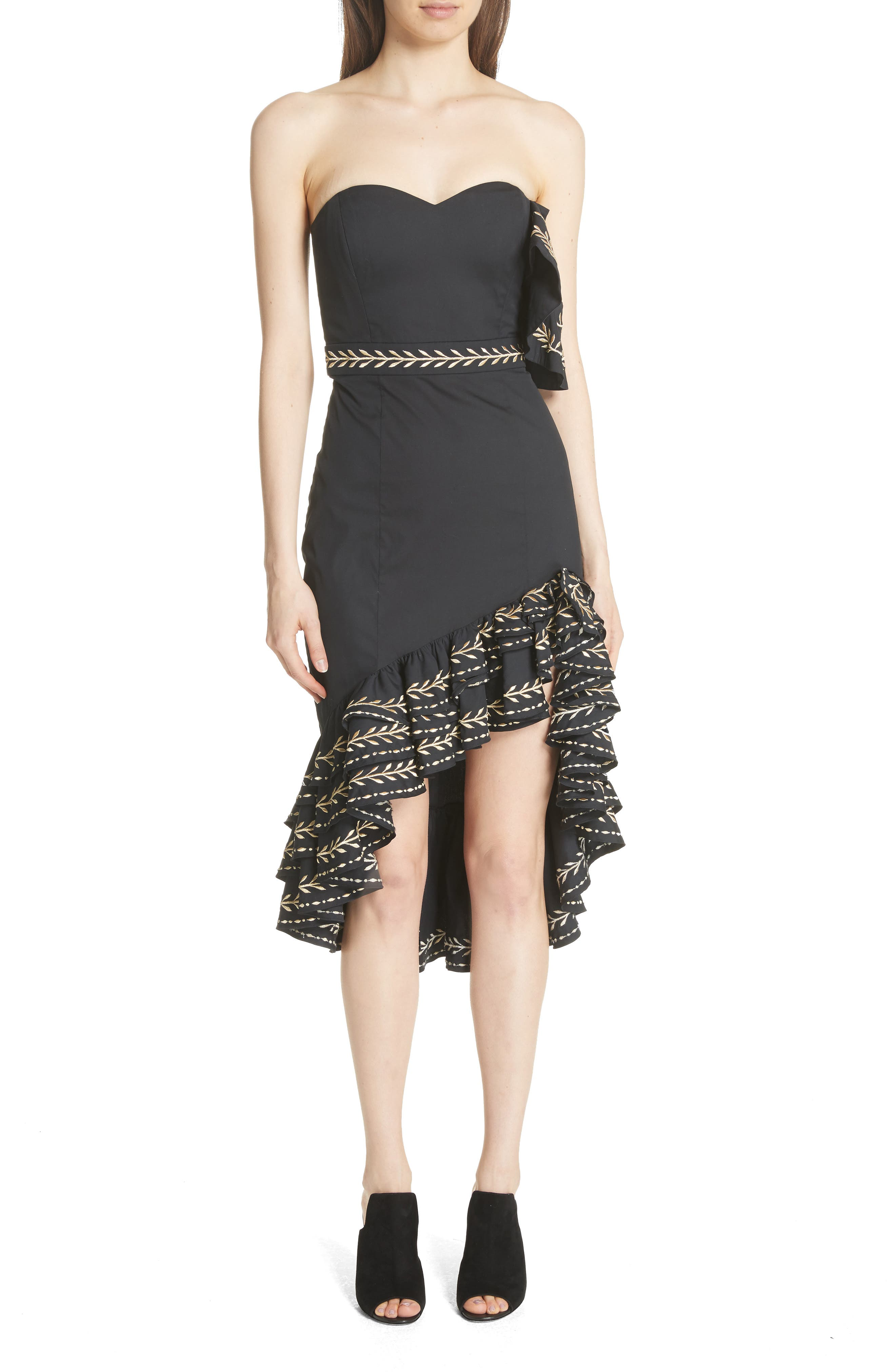 Cam Embroidered Asymmetrical Ruffle Dress,                             Alternate thumbnail 5, color,                             001