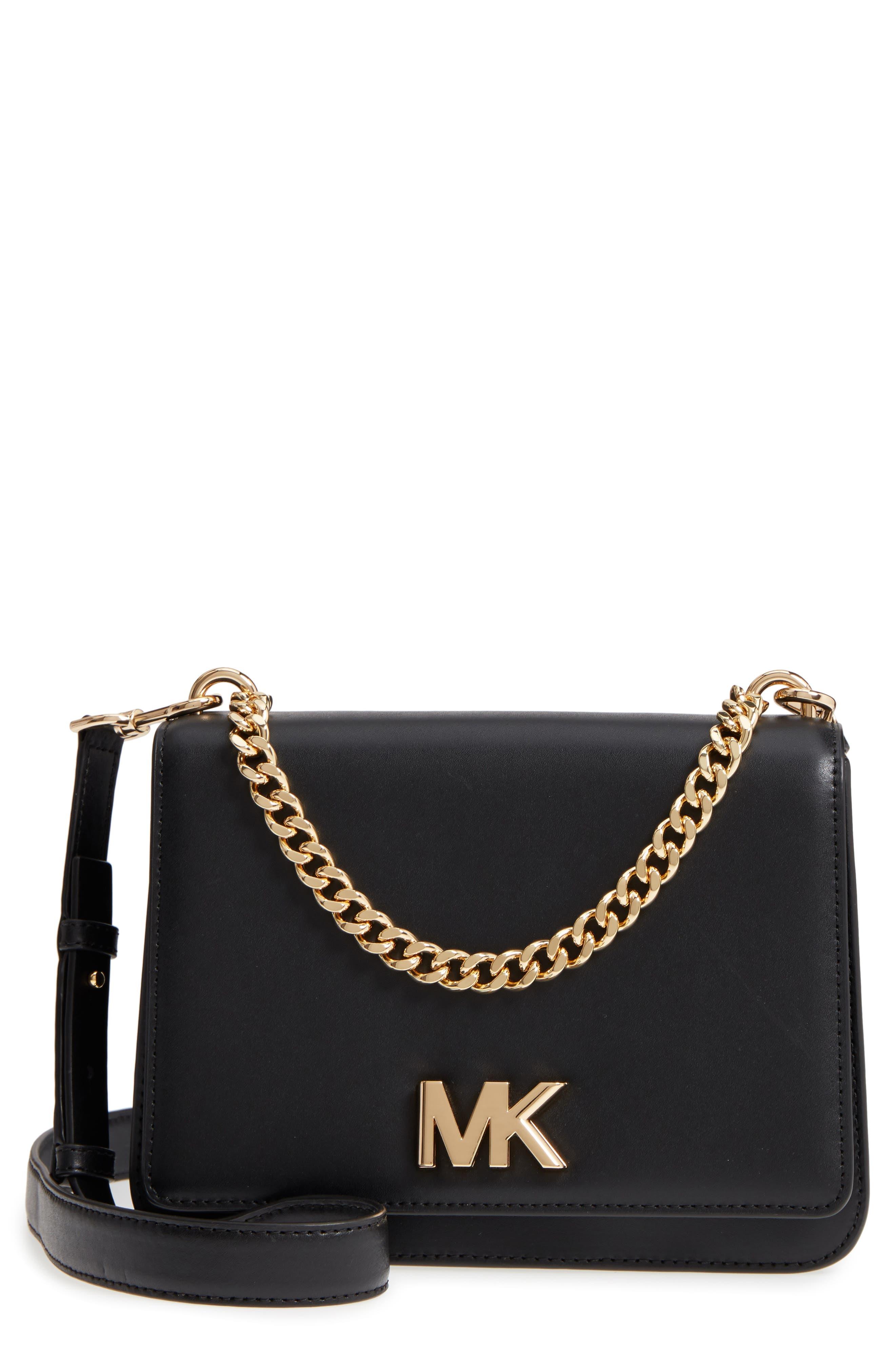 Large Mott Chain Swag Leather Shoulder Bag,                         Main,                         color, 001