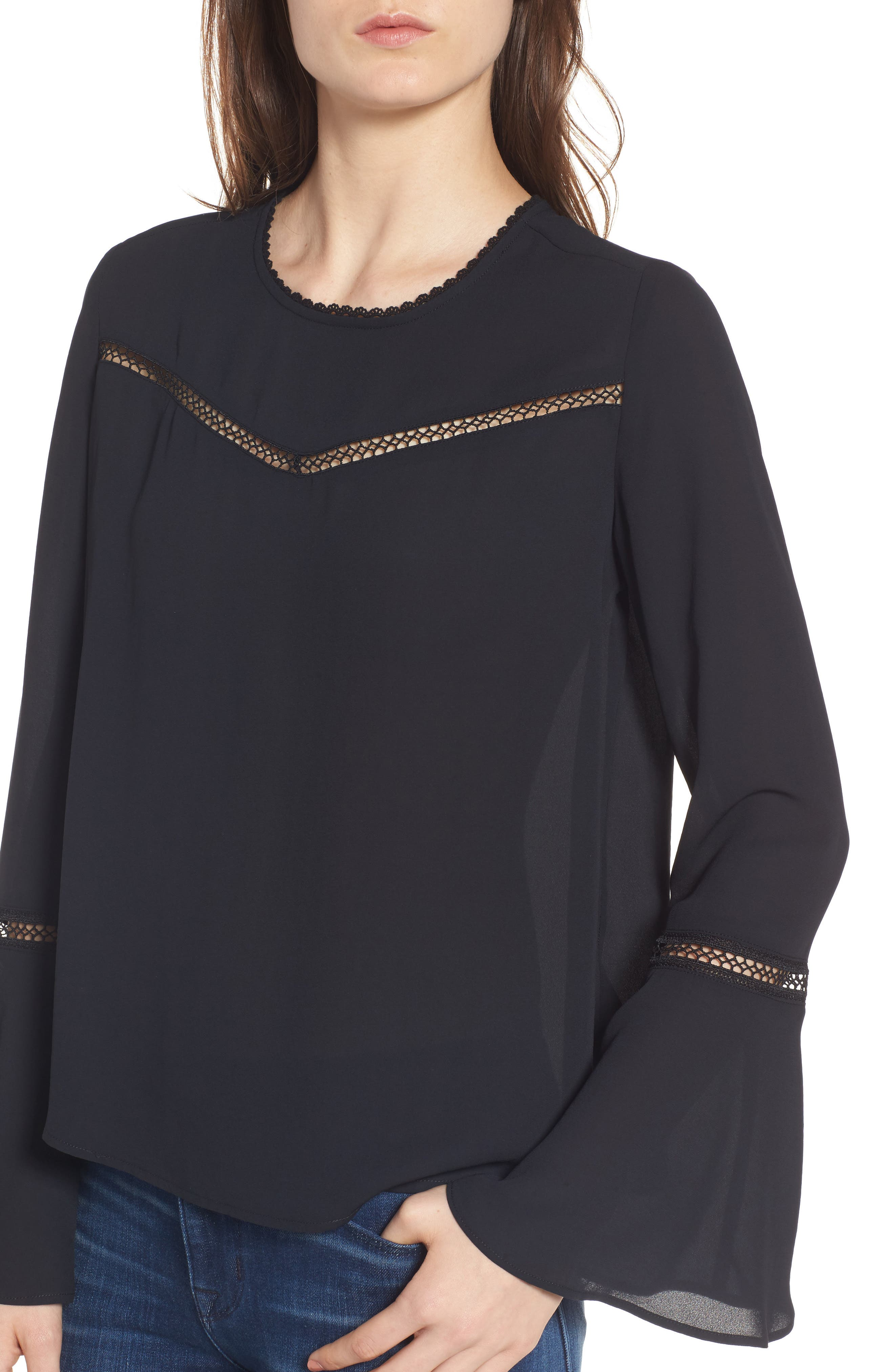 Chava Bell Sleeve Top,                             Alternate thumbnail 4, color,                             001