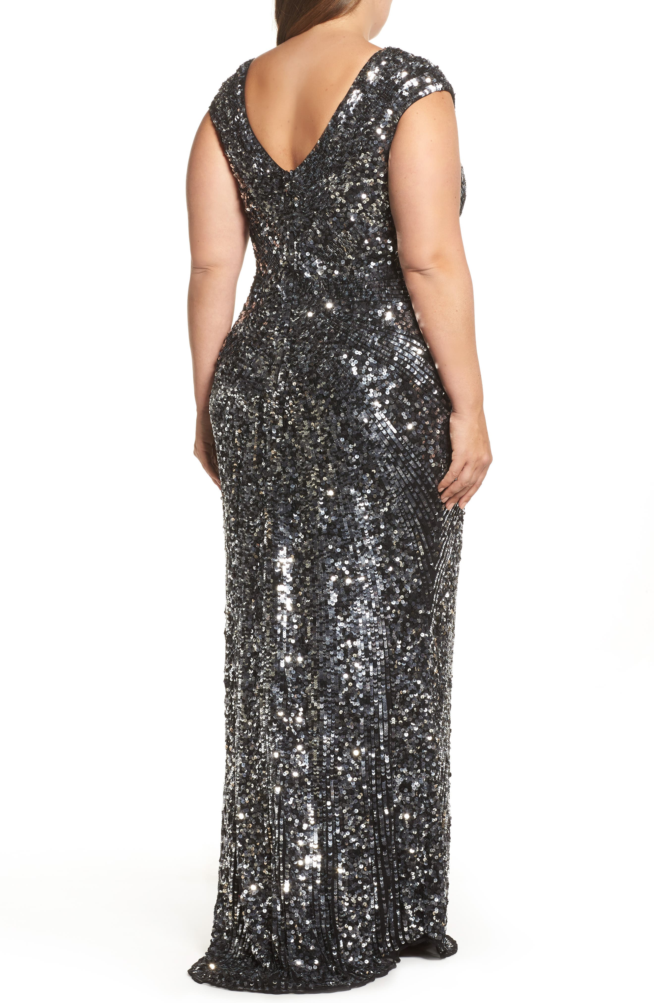 MAC DUGGAL,                             Sequin Plunging V-Neck Gown,                             Alternate thumbnail 2, color,                             001