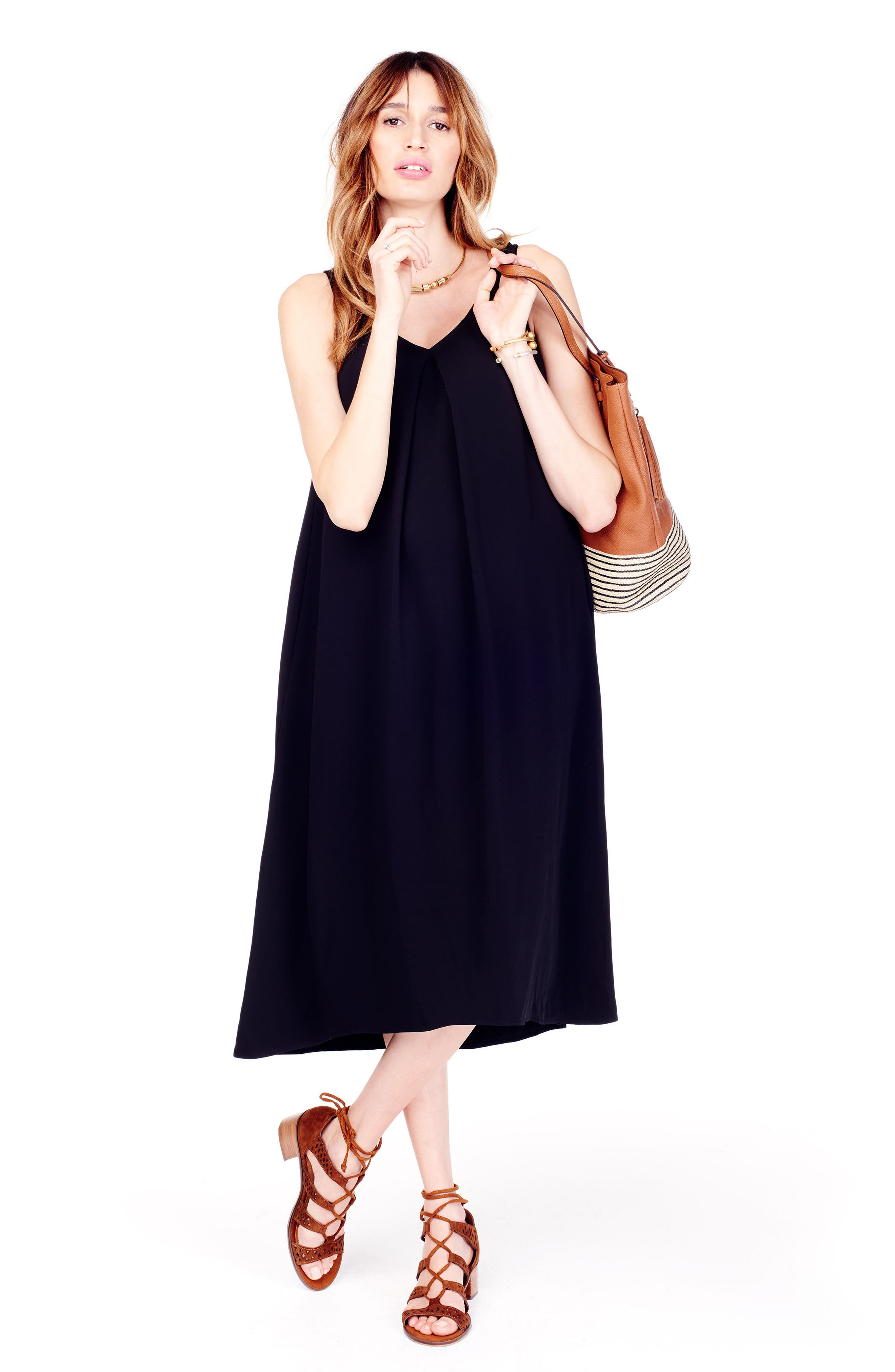 High/Low Maternity Dress,                             Alternate thumbnail 4, color,                             JET BLACK