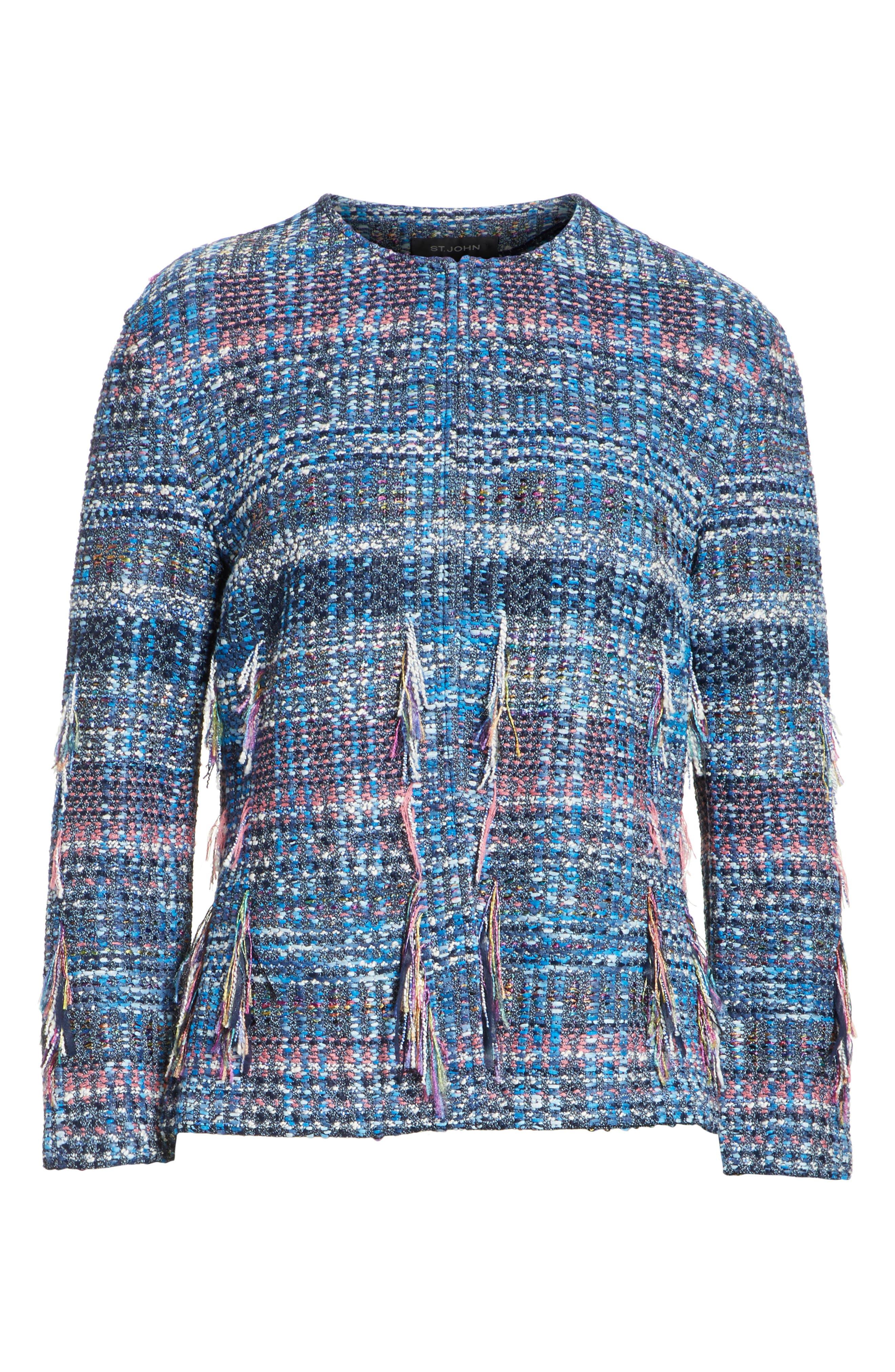 Fil Coupé Watercolor Placed Knit Jacket,                             Alternate thumbnail 5, color,                             420