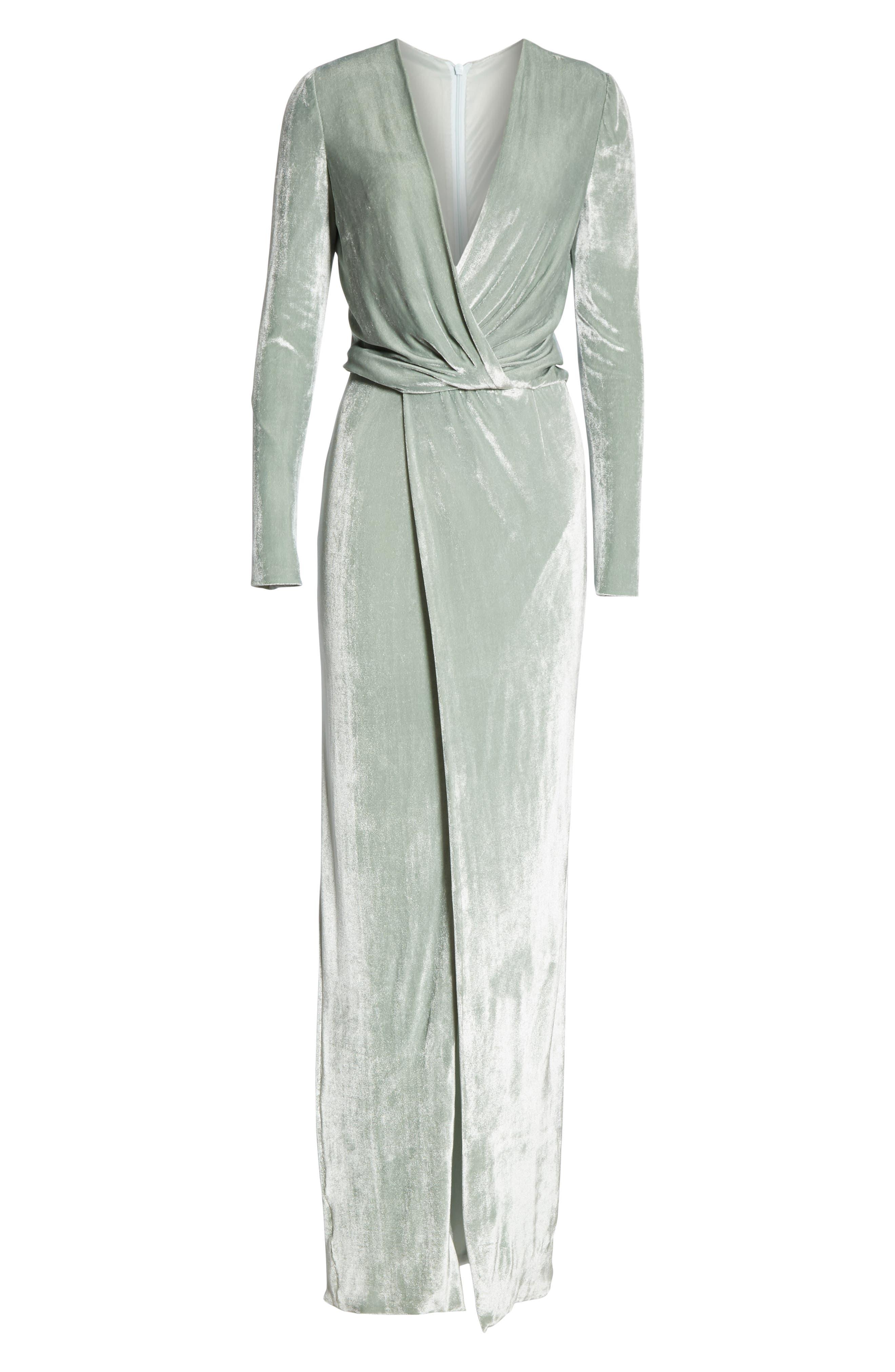GALVAN,                             Surplice Neck Velvet Gown,                             Alternate thumbnail 6, color,                             MINT