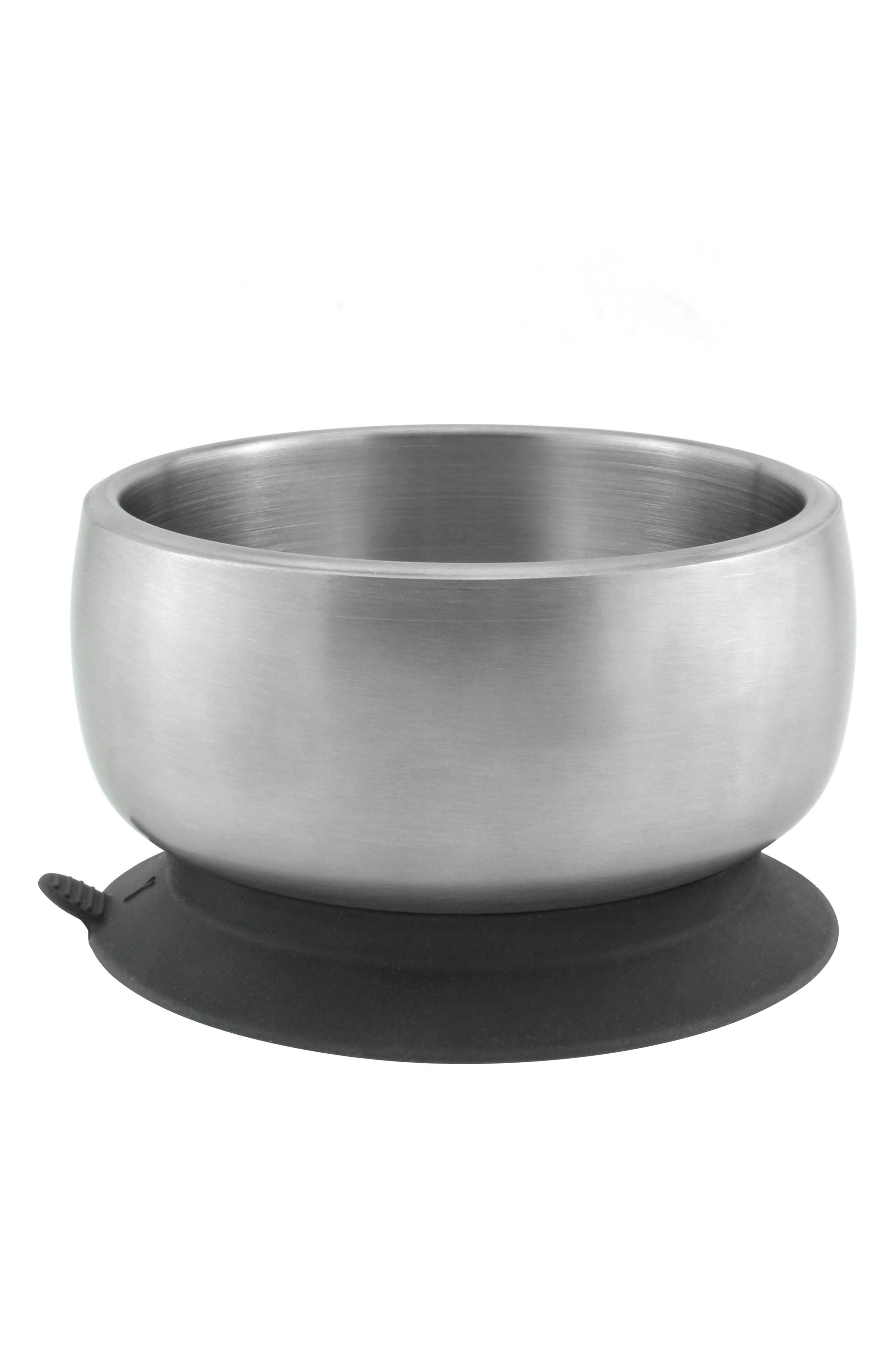 Stainless Steel Stay-Put Suction Bowl & Lid,                             Alternate thumbnail 4, color,                             BLACK