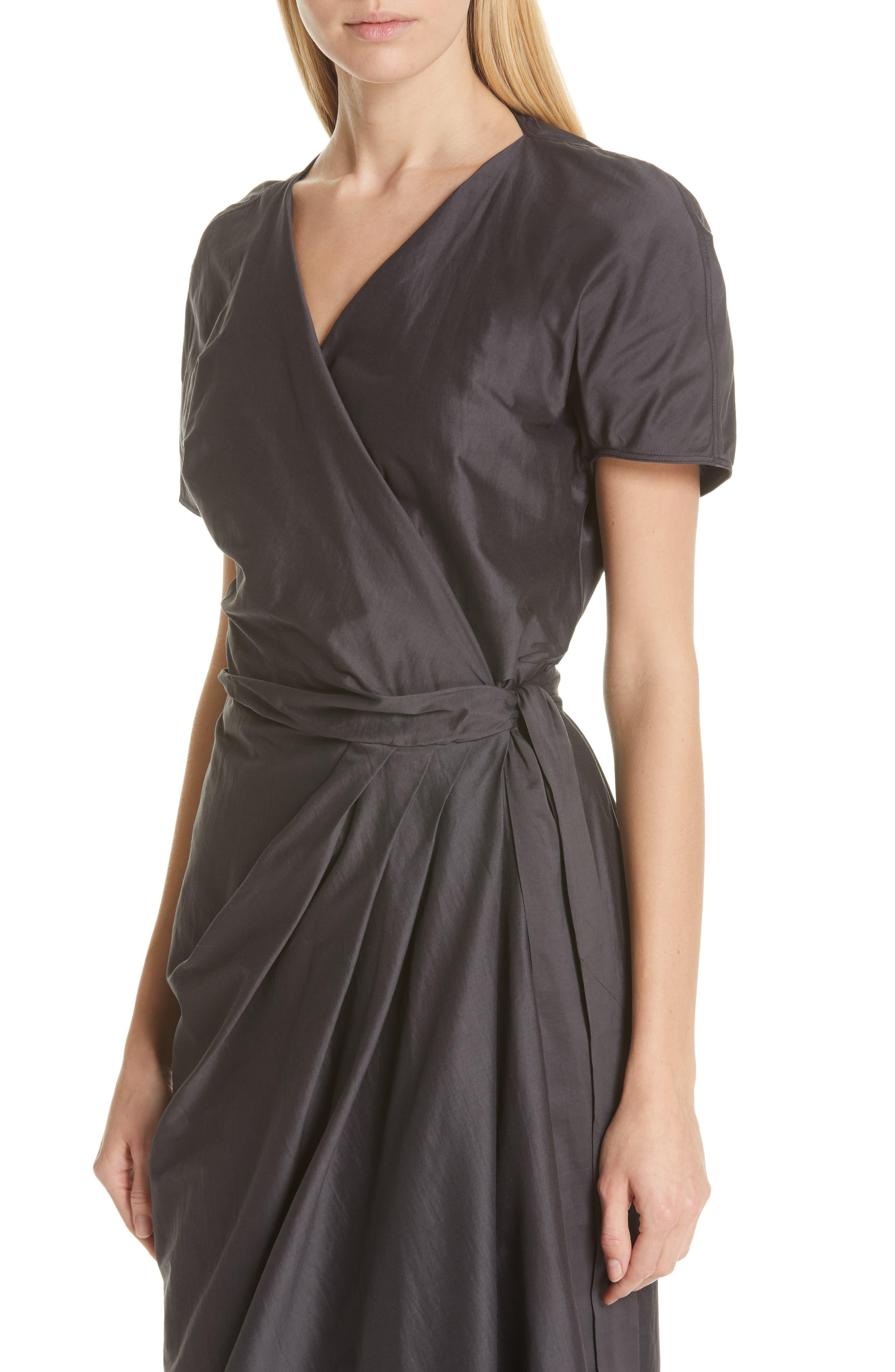 RICK OWENS,                             Limo Cotton & Silk Wrap Dress,                             Alternate thumbnail 5, color,                             BLUE JAY