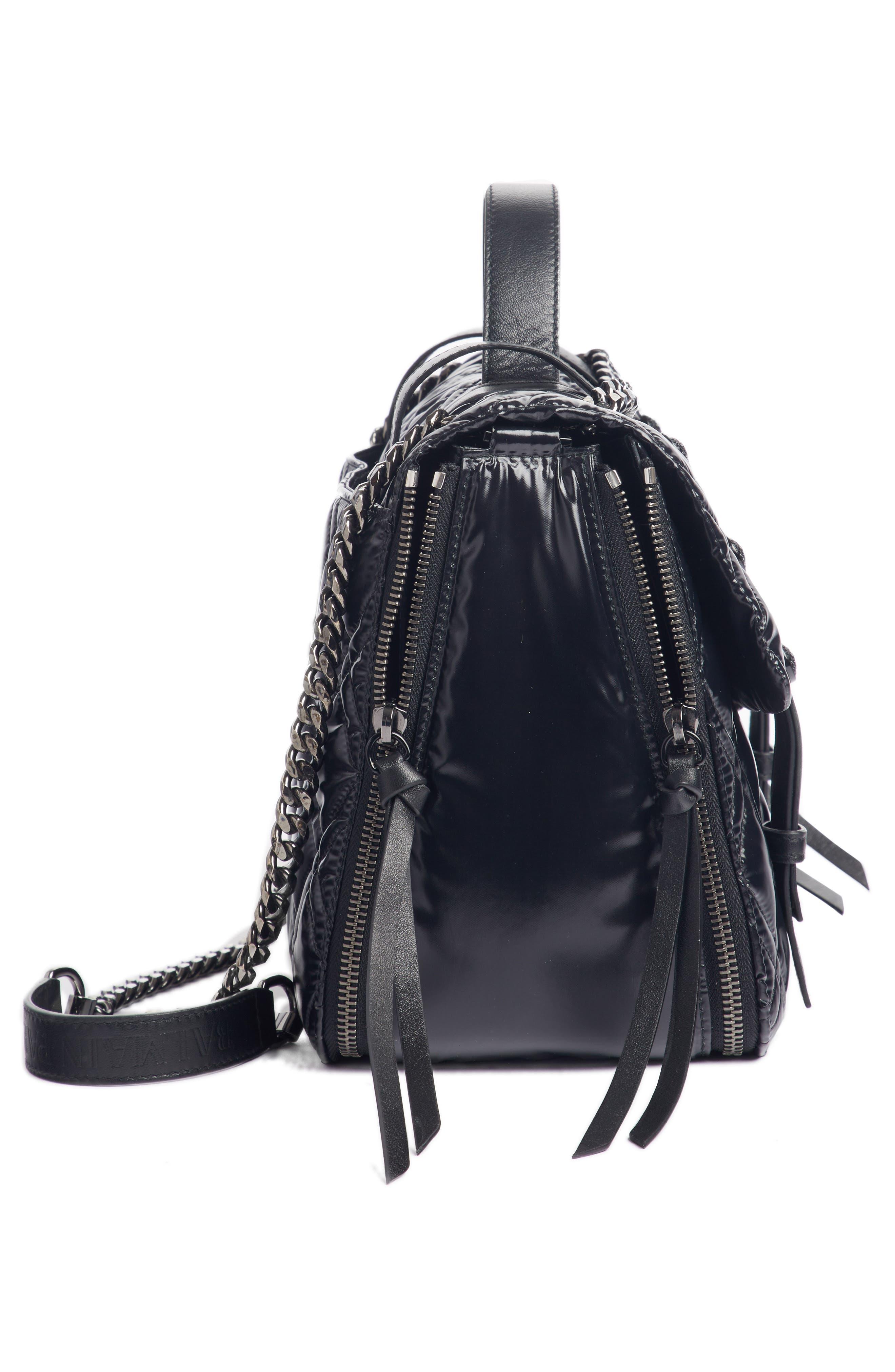 Quilted Faux Leather Shoulder Bag,                             Alternate thumbnail 4, color,                             TRANSPARENT/ NOIR