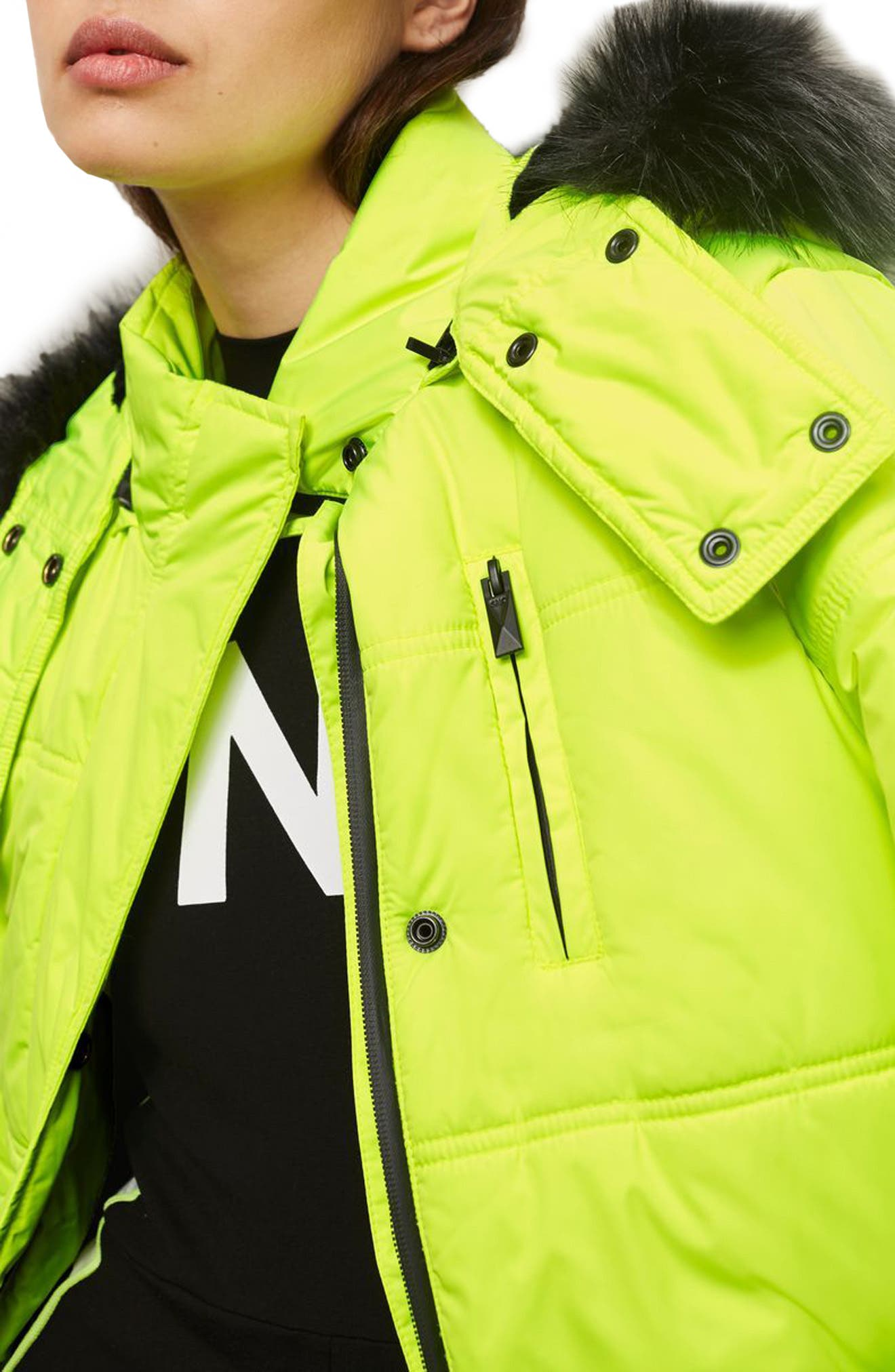SNO Rio Faux Fur Hood Neon Puffer Jacket,                             Alternate thumbnail 6, color,