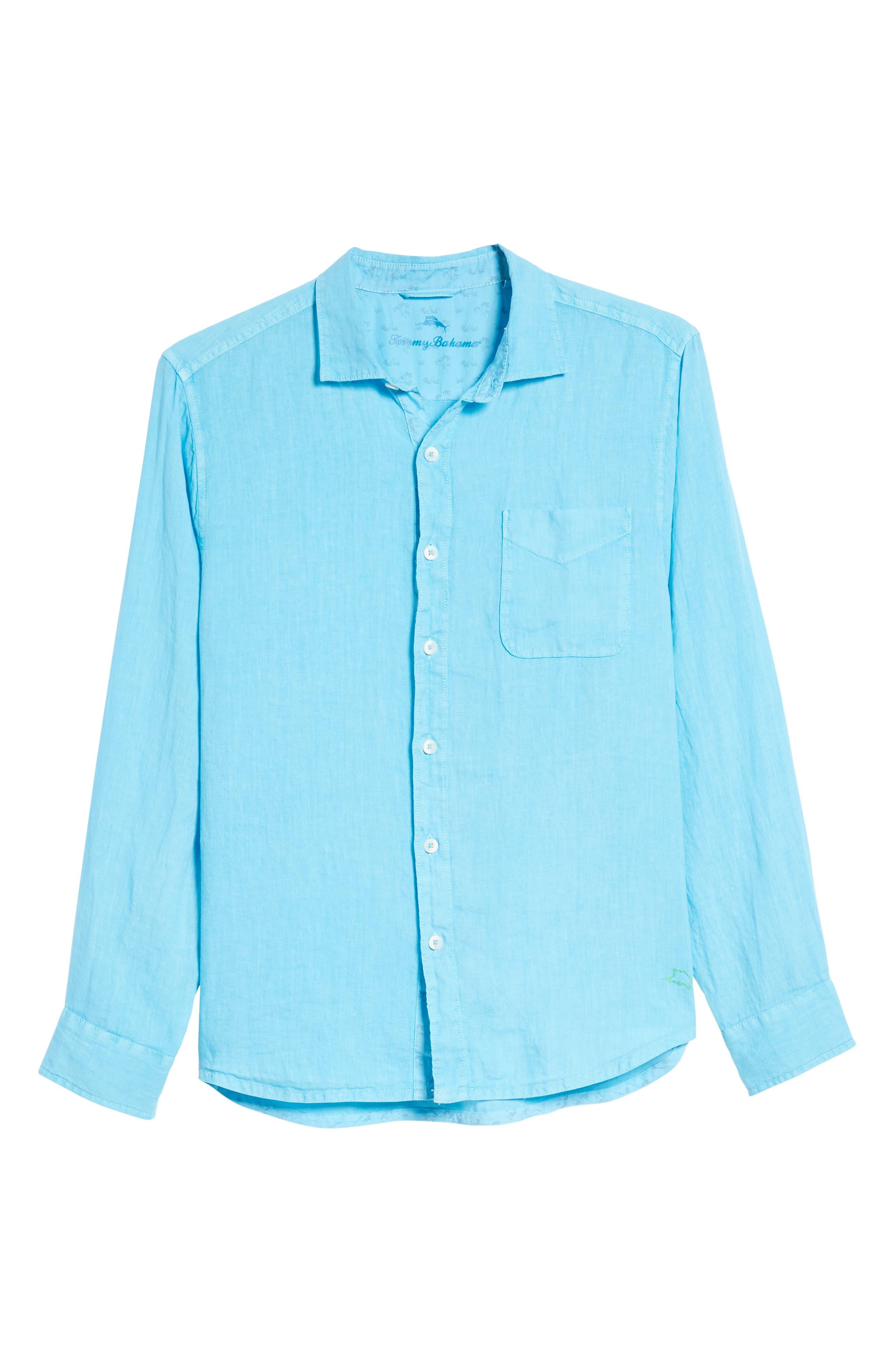 Seaspray Breezer Standard Fit Linen Sport Shirt,                             Alternate thumbnail 6, color,                             POOL PARTY BLUE