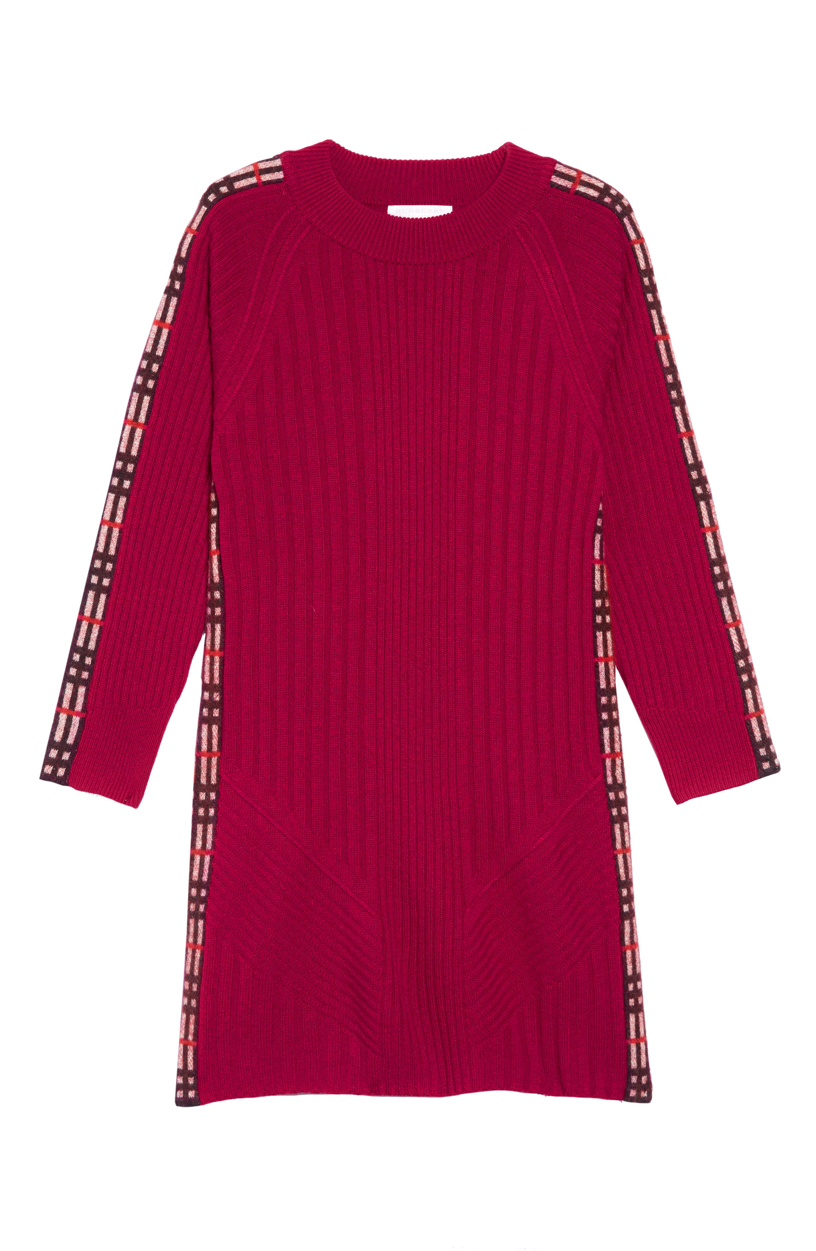 Kids Cathina Check Detail Wool & Cashmere Sweater Dress,                             Main thumbnail 1, color,                             BURGUNDY RED