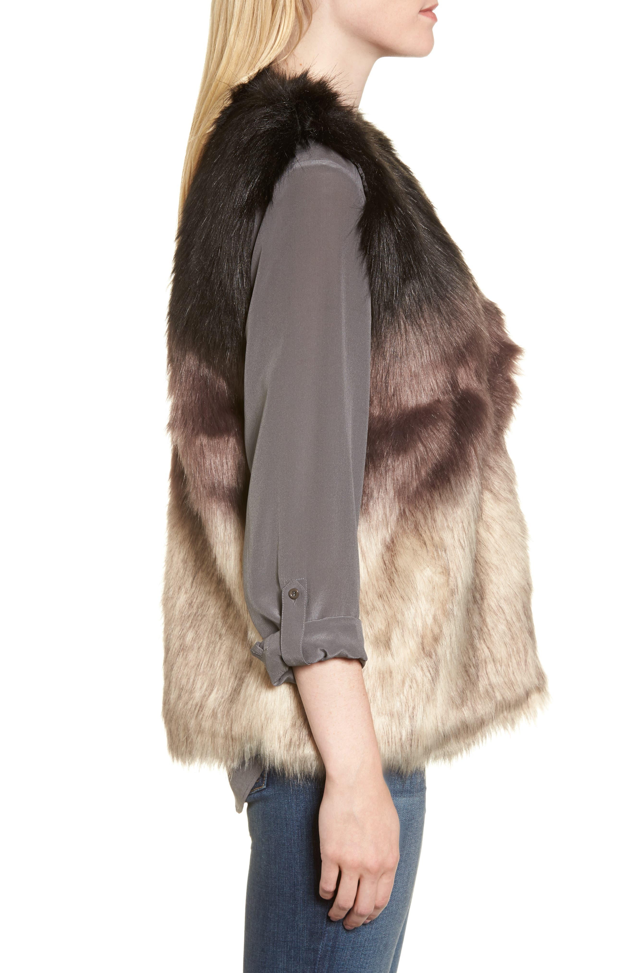 Ombré Faux Fur Vest,                             Alternate thumbnail 3, color,                             001