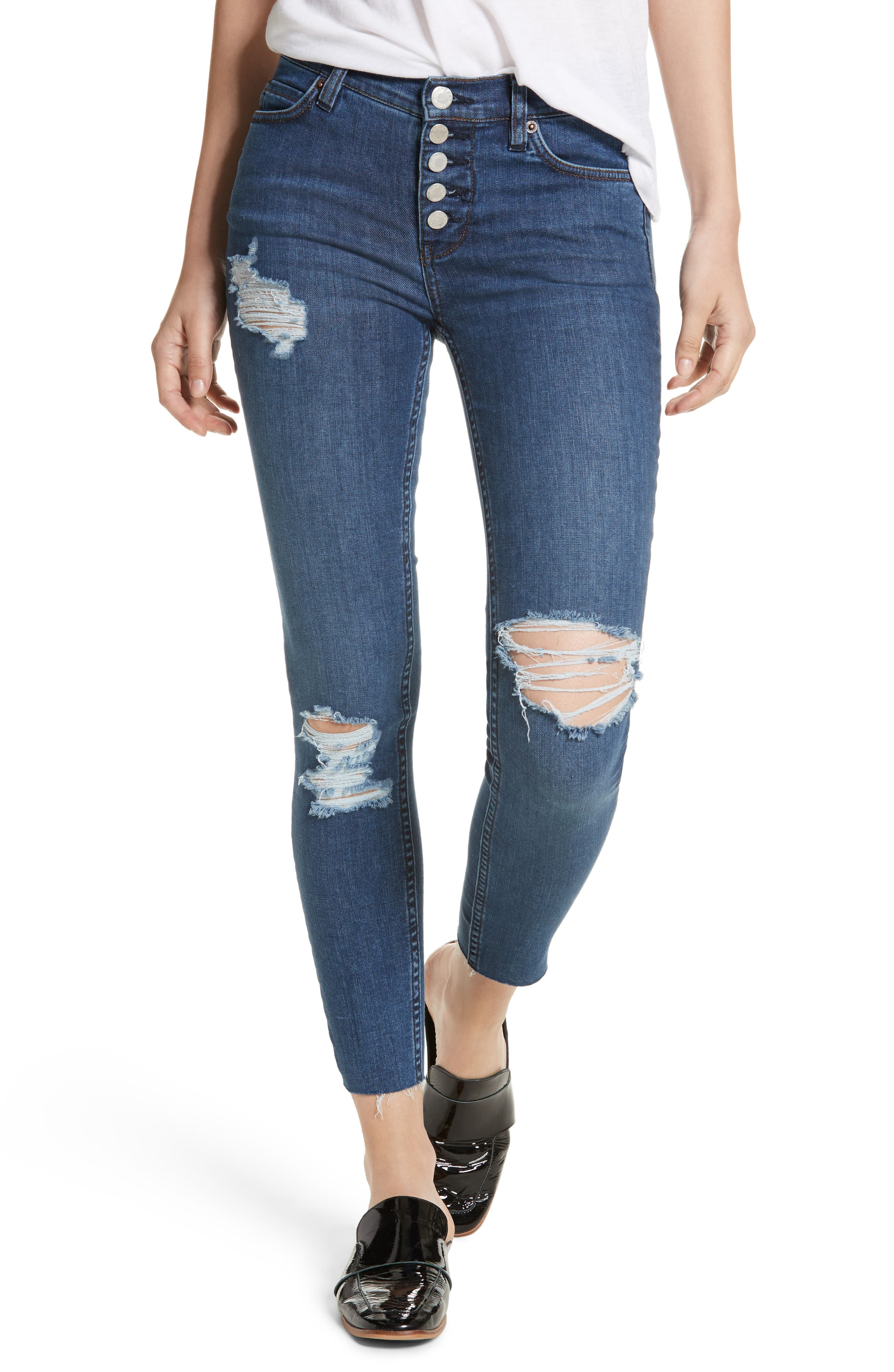 We the Free by Free People Reagan Destroyed Crop Skinny Jeans,                             Main thumbnail 1, color,
