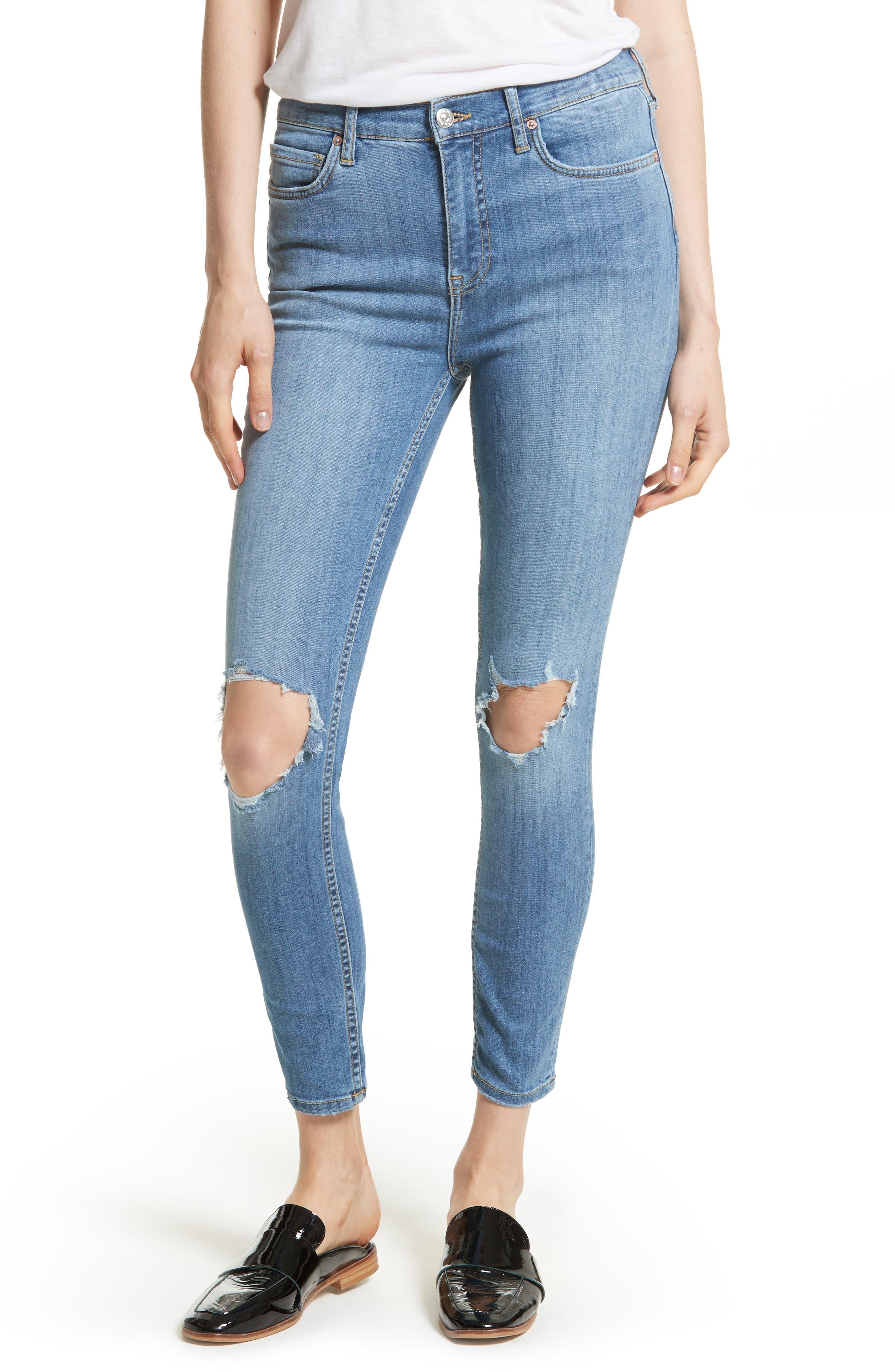 We the People by Free People High Rise Busted Knee Skinny Jeans,                             Main thumbnail 4, color,