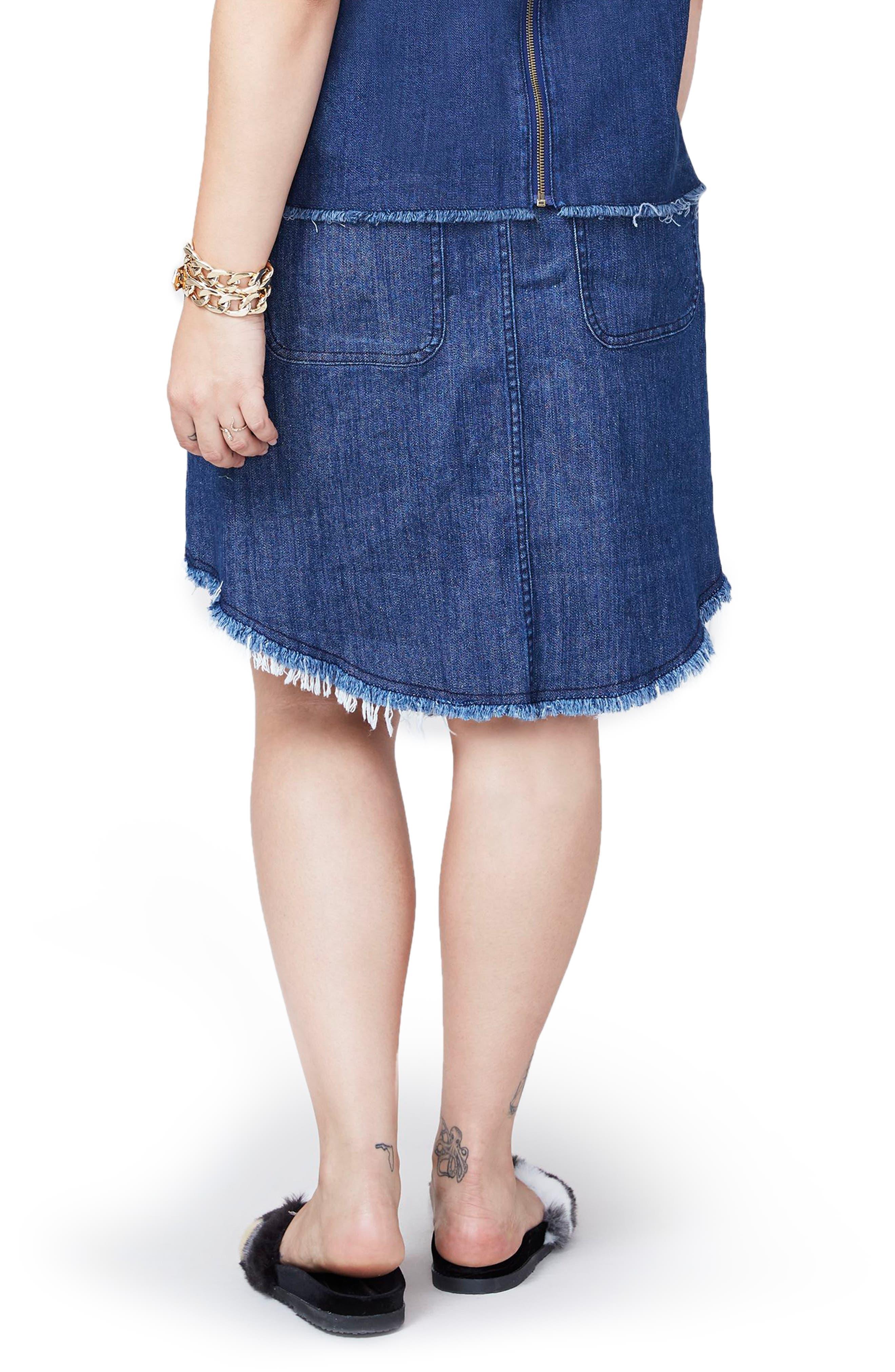 Denim Button Front Skirt,                             Alternate thumbnail 2, color,                             403