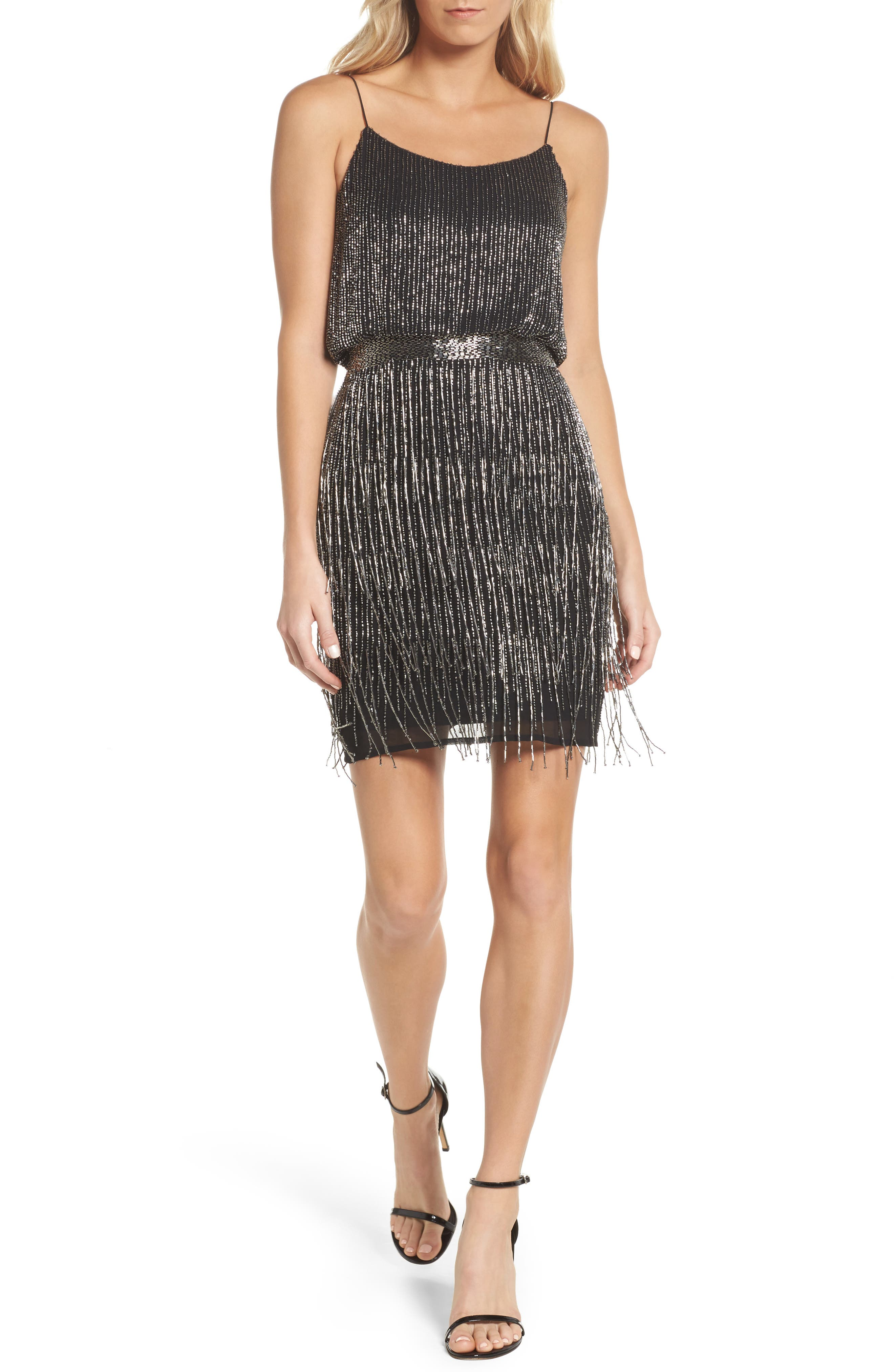 Beaded Fringe Blouson Dress,                             Main thumbnail 1, color,                             017
