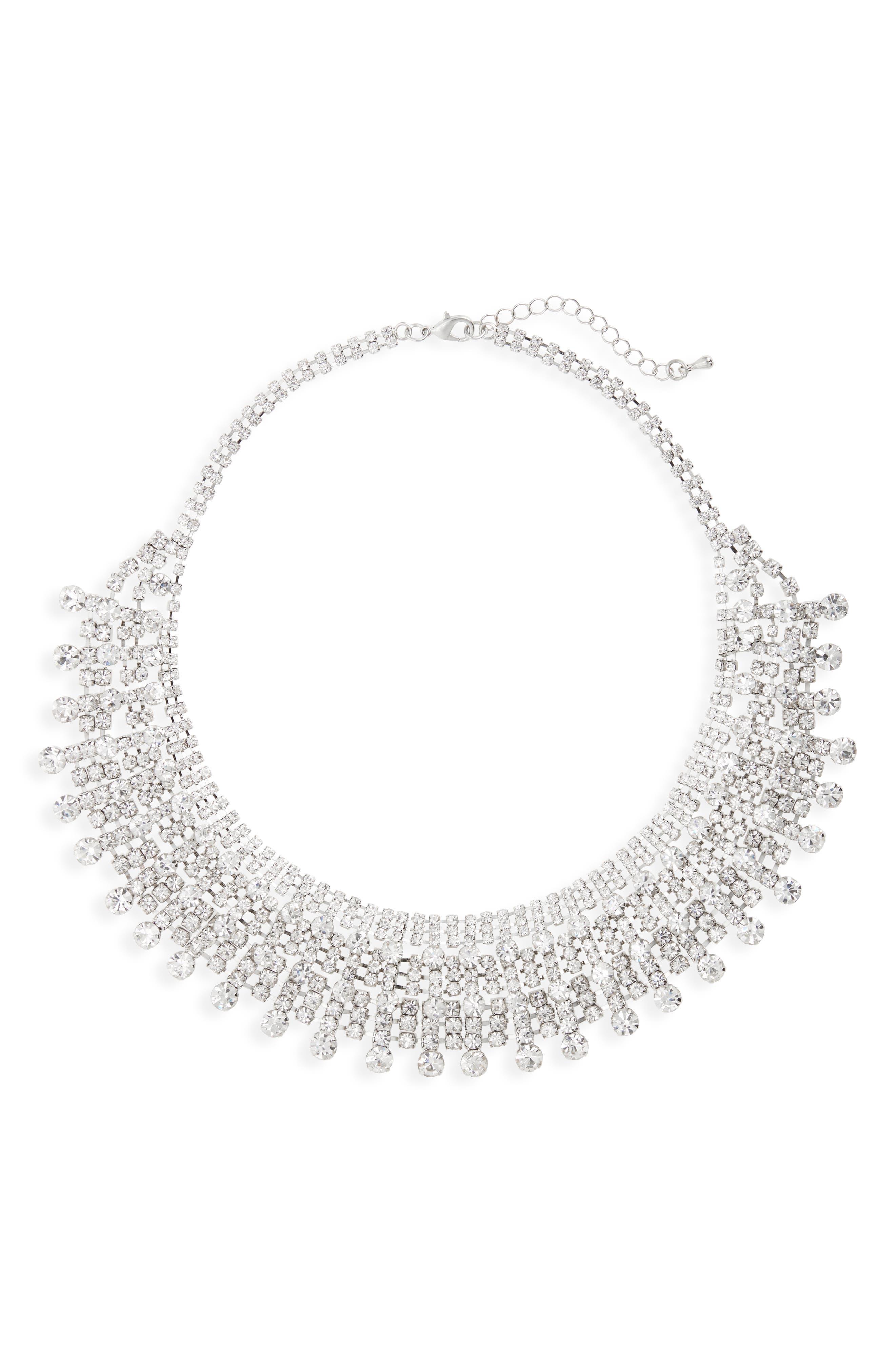 Crystal Drama Collar Necklace,                             Main thumbnail 1, color,                             SILVER
