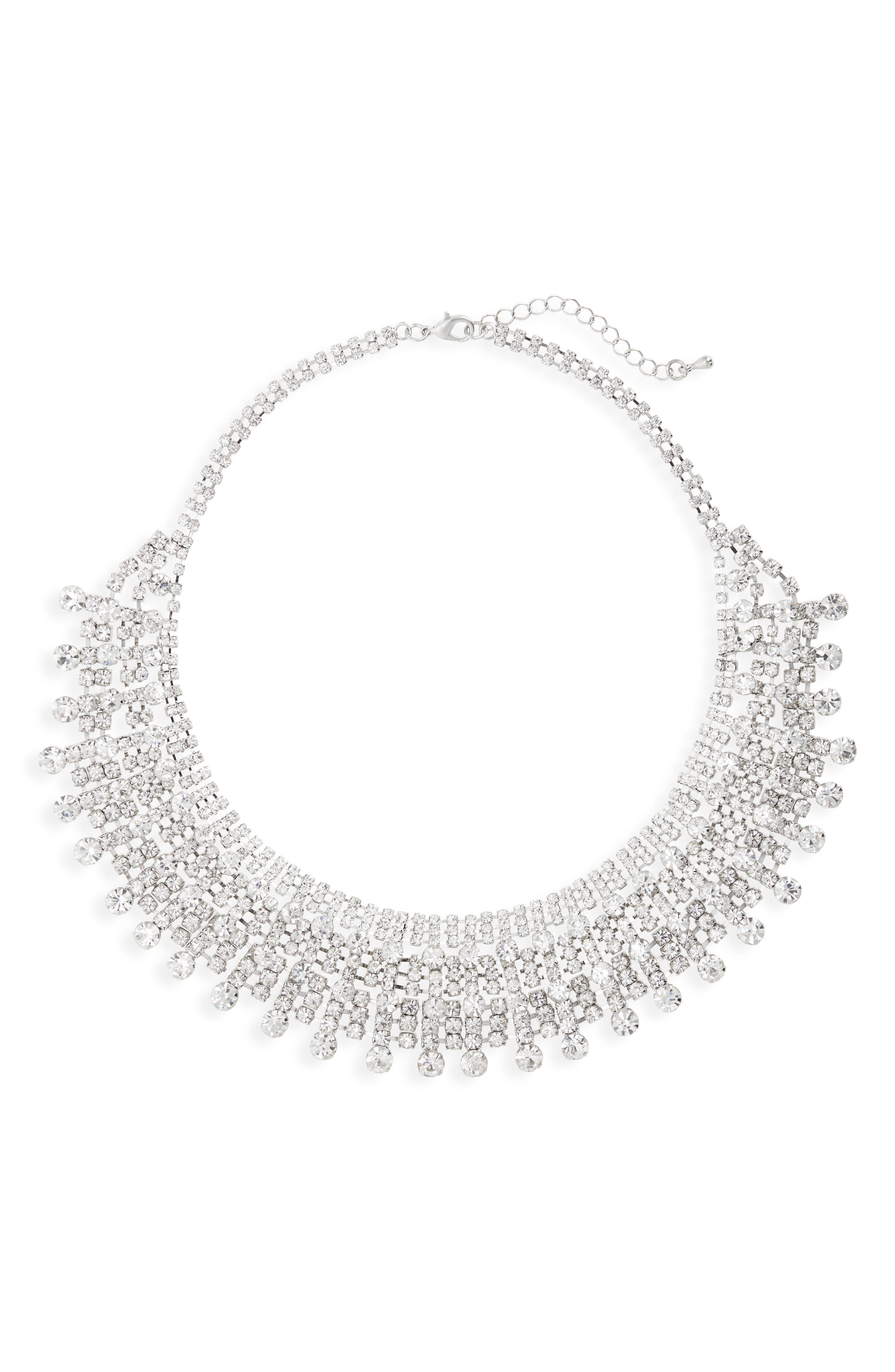 Crystal Drama Collar Necklace,                         Main,                         color, SILVER