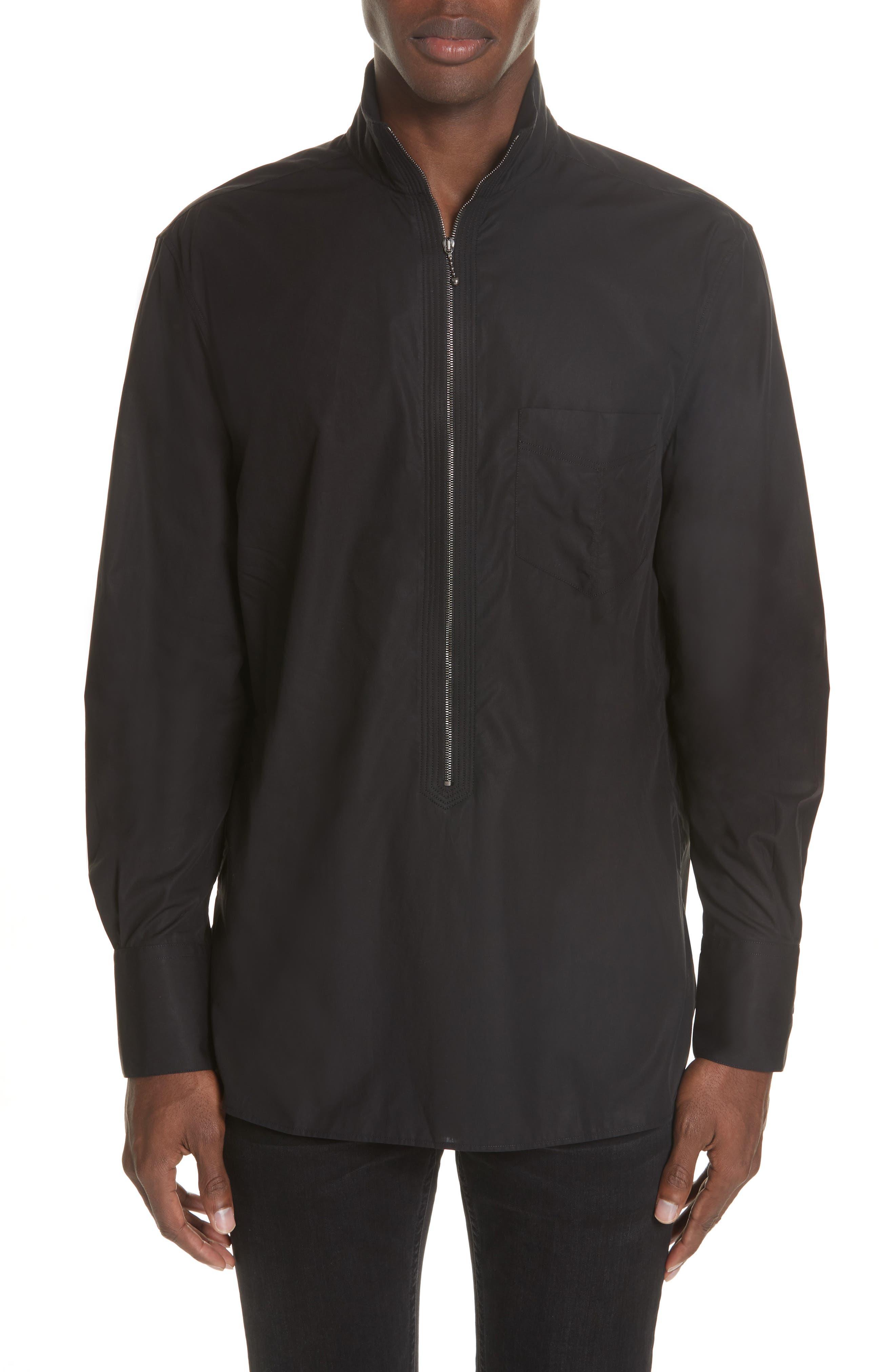 Zip Front Cotton Shirt,                         Main,                         color, BLACK