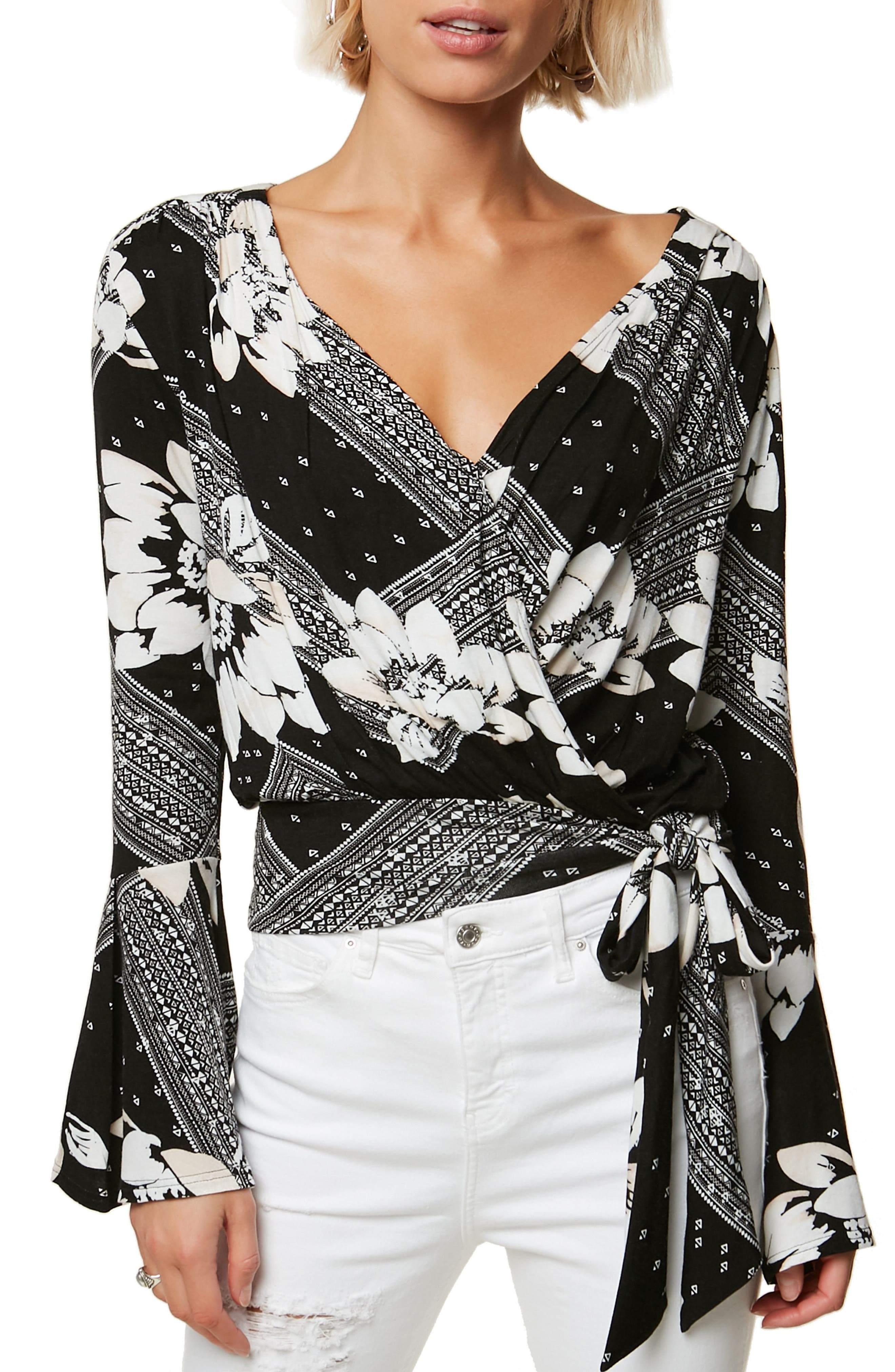 Jude Print Tie Hem Top,                         Main,                         color, BLACK