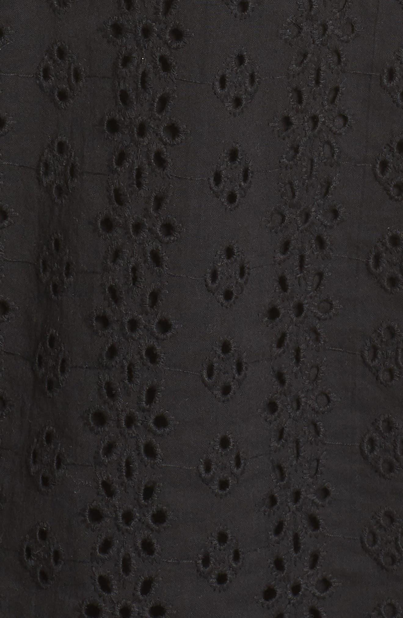 Zahara Eyelet & Lace A-Line Dress,                             Alternate thumbnail 6, color,                             BLACK