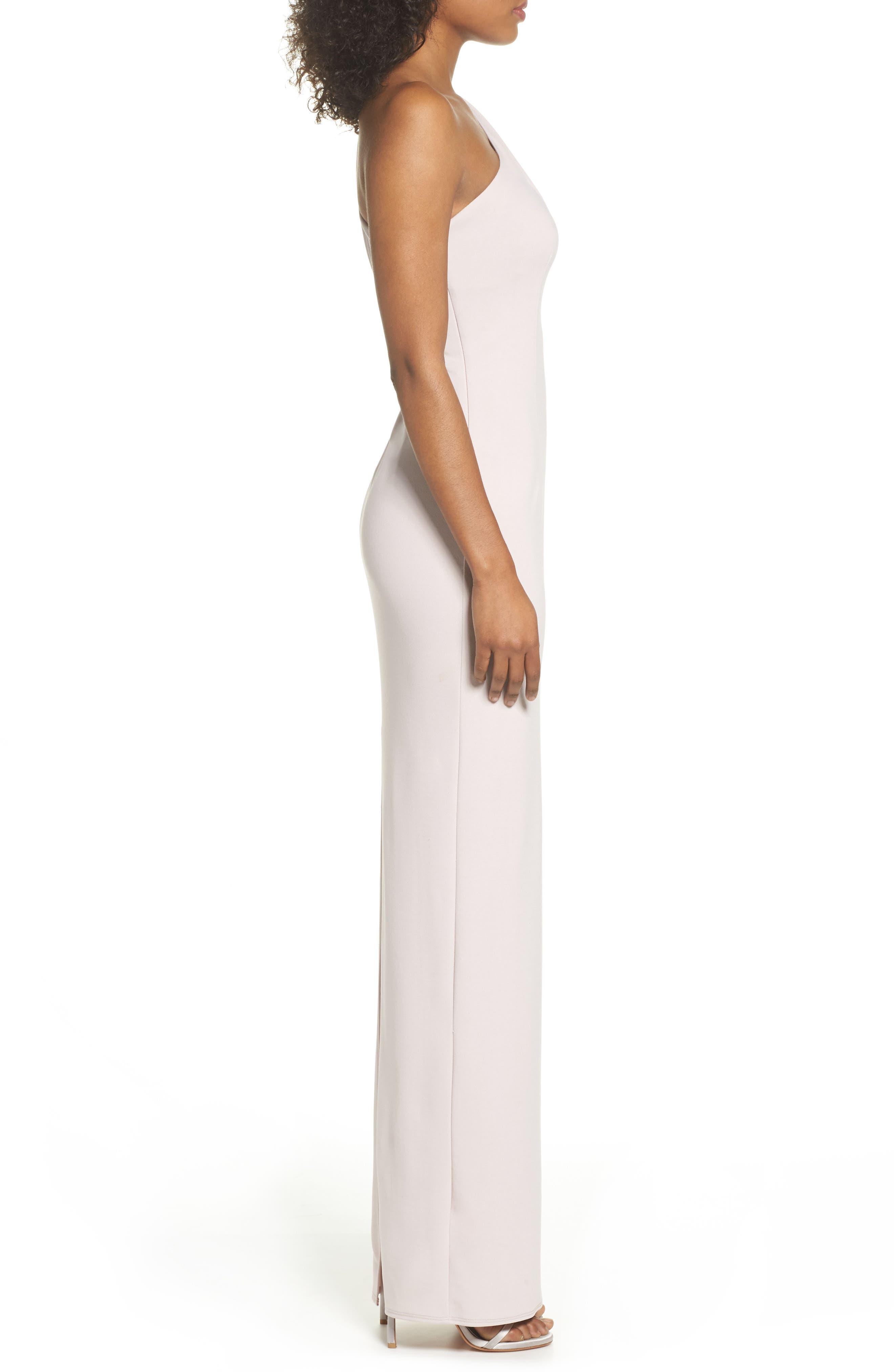 Angelina One-Shoulder Crepe Column Gown,                             Alternate thumbnail 3, color,                             BALLET