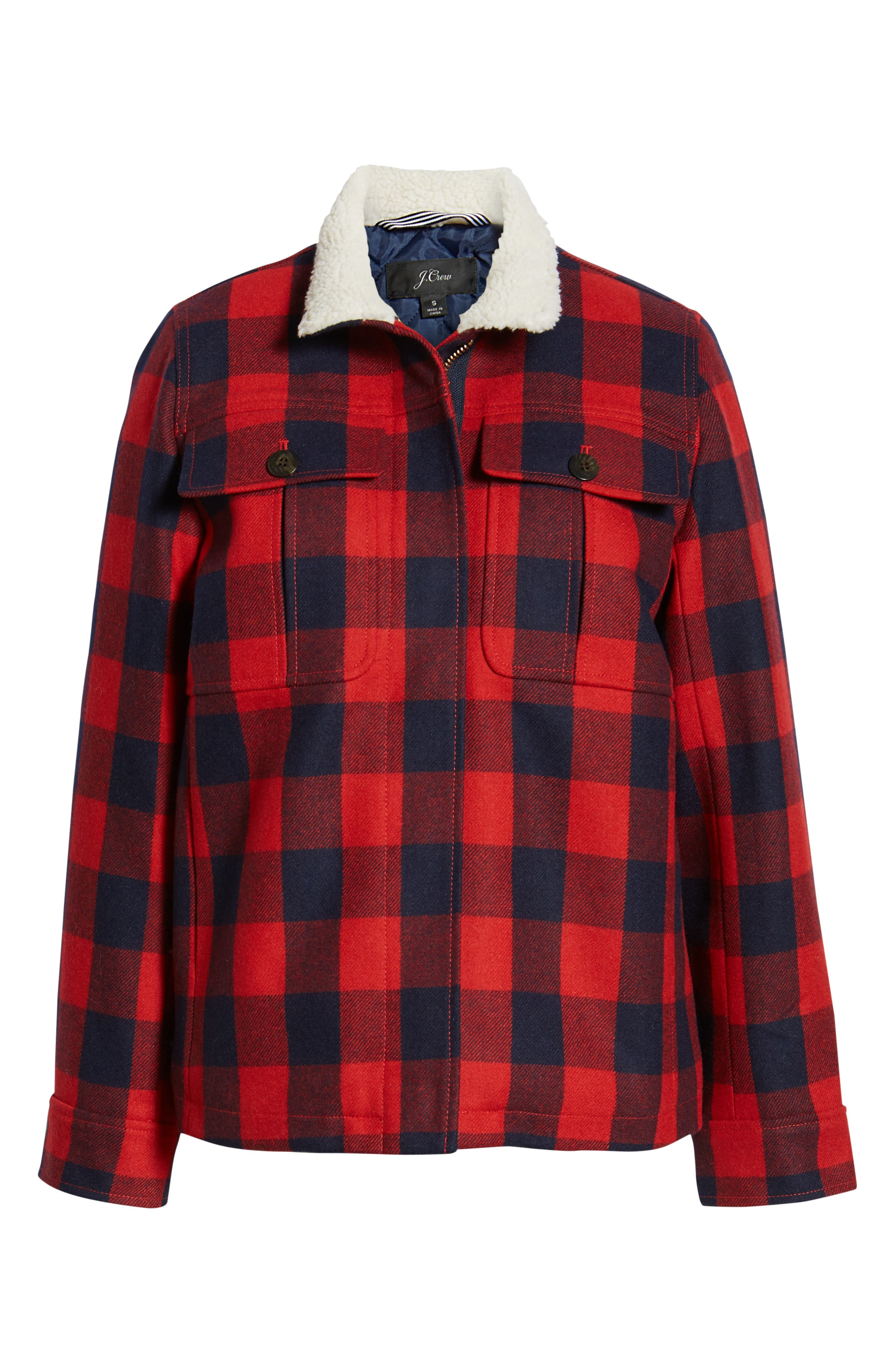 Buffalo Check Workwear Jacket with Faux Shearling Lining,                             Alternate thumbnail 6, color,                             RED NAVY BUFFALO