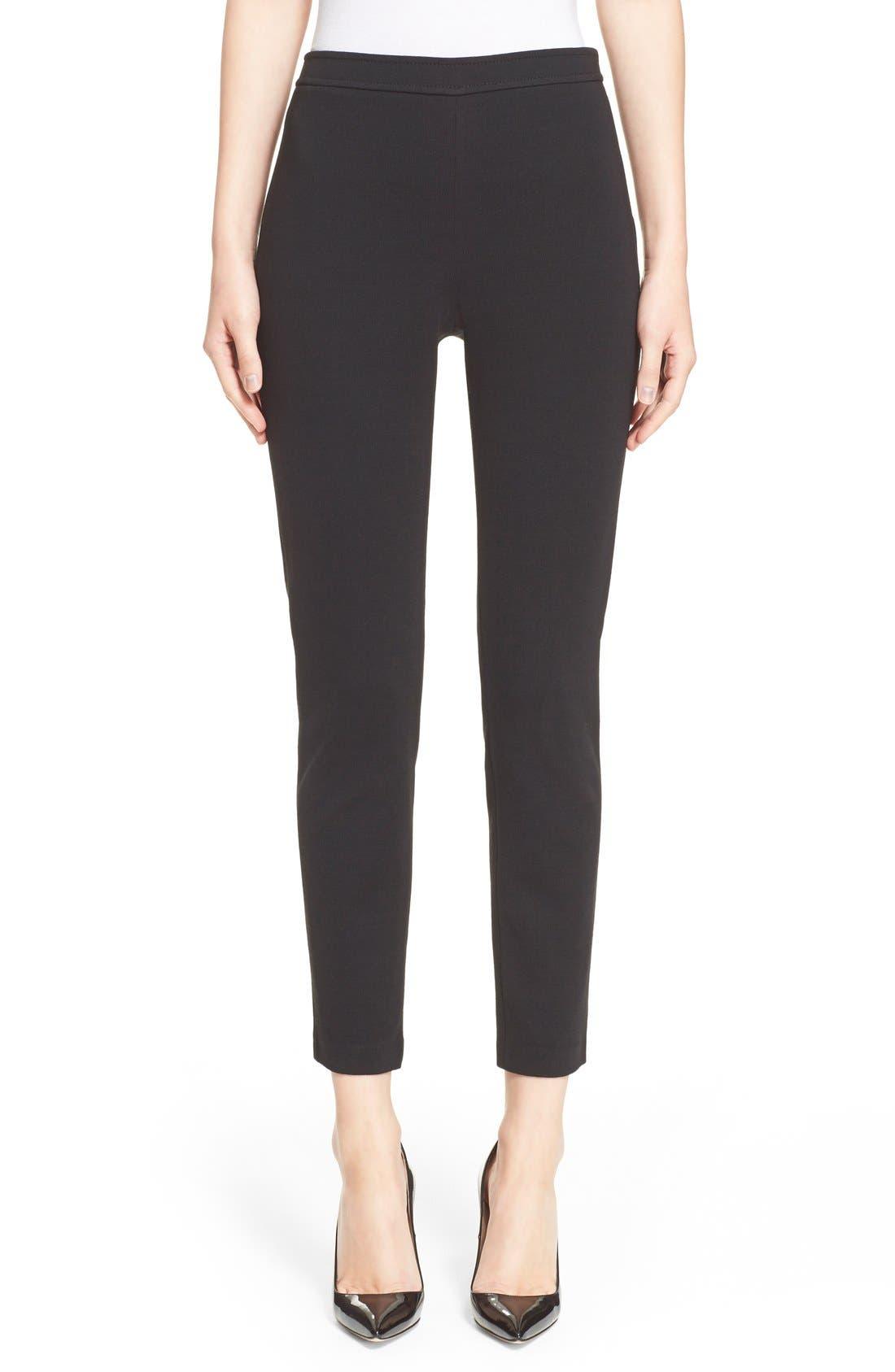 'Alexa' Stretch Milano Knit Ankle Pants,                         Main,                         color, CAVIAR