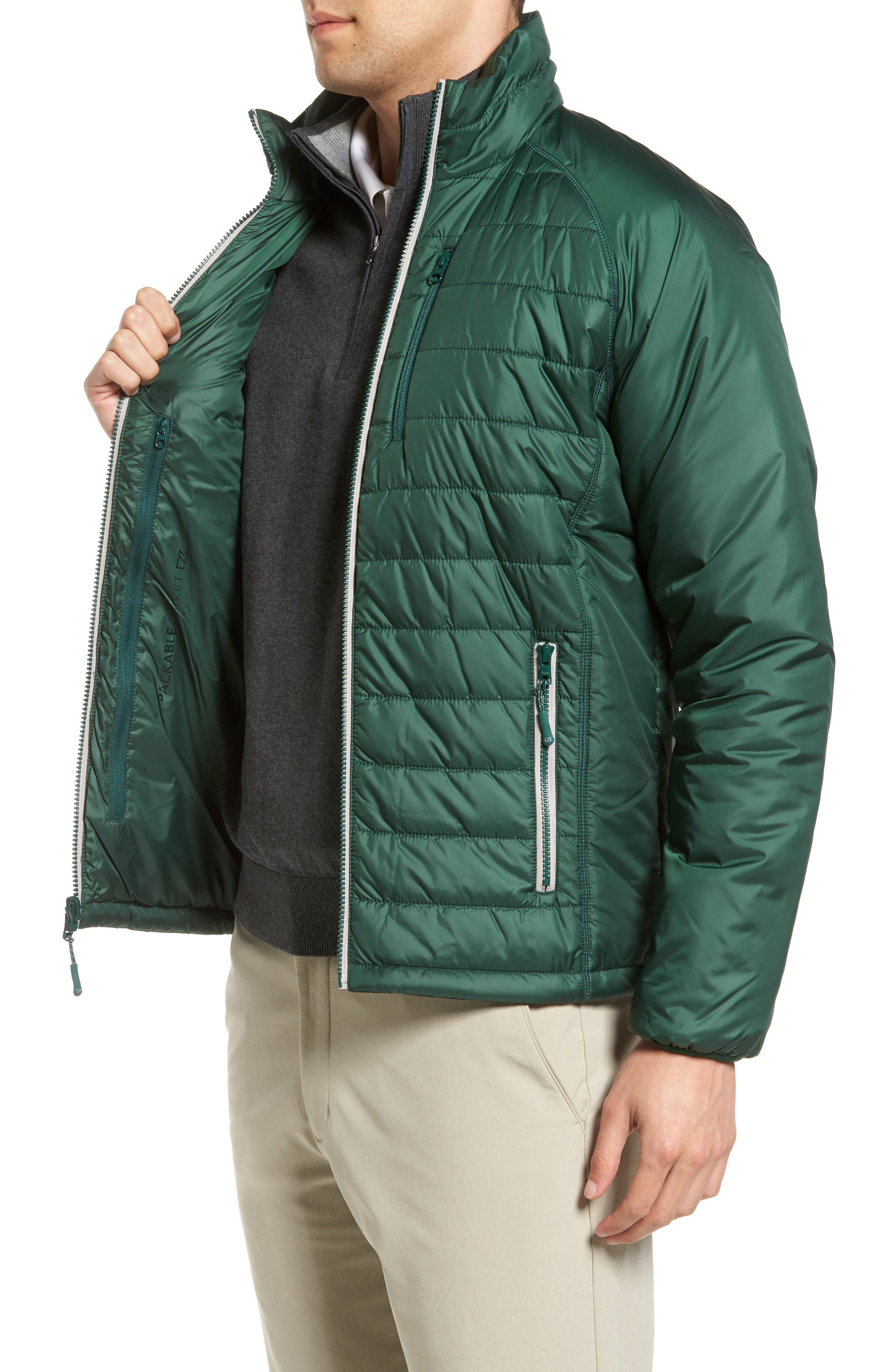 Barlow Pass Quilted Jacket,                             Alternate thumbnail 3, color,                             001