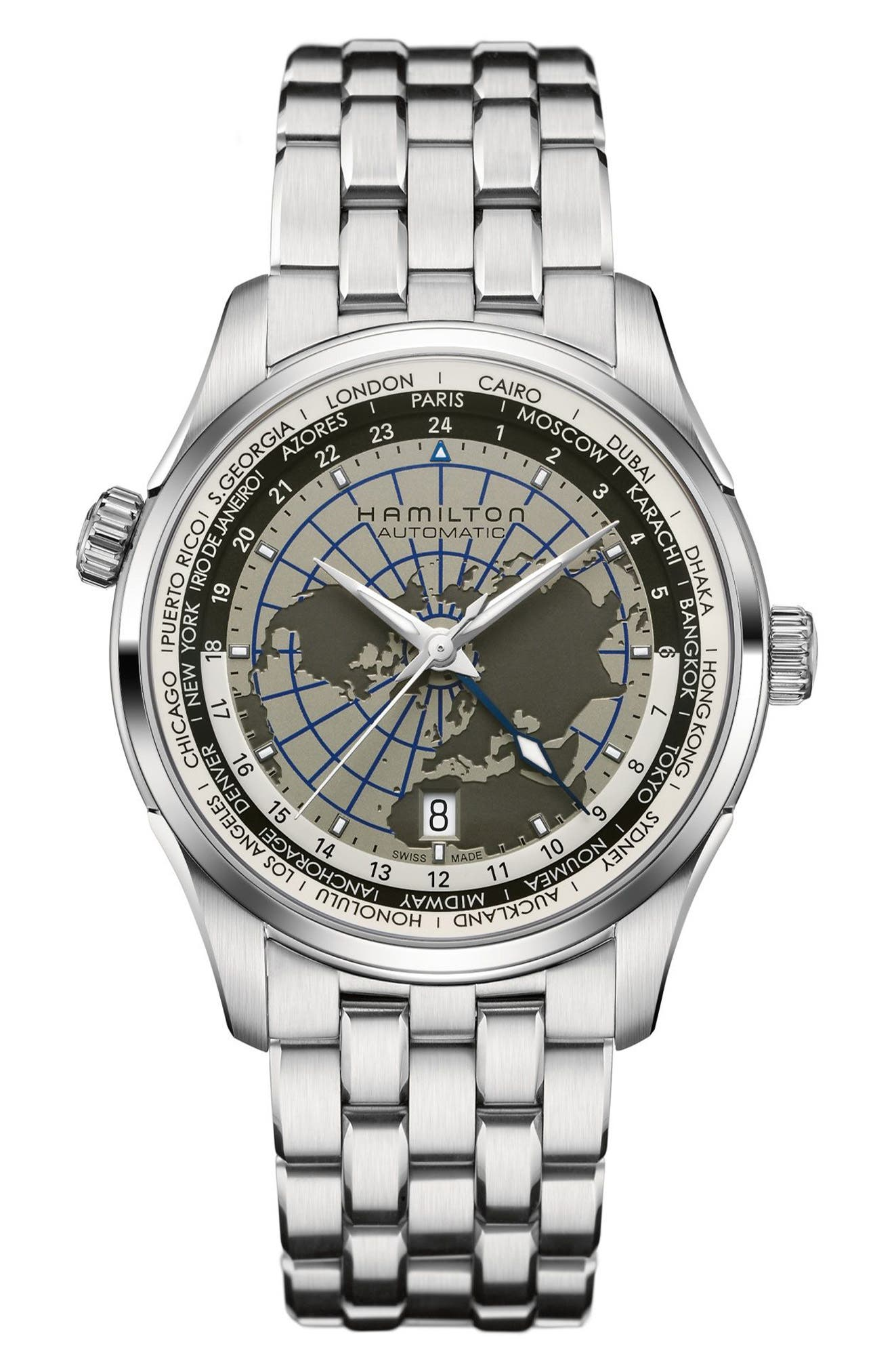 Jazzmaster GMT Automatic Bracelet Watch, 40mm,                             Main thumbnail 1, color,                             SILVER