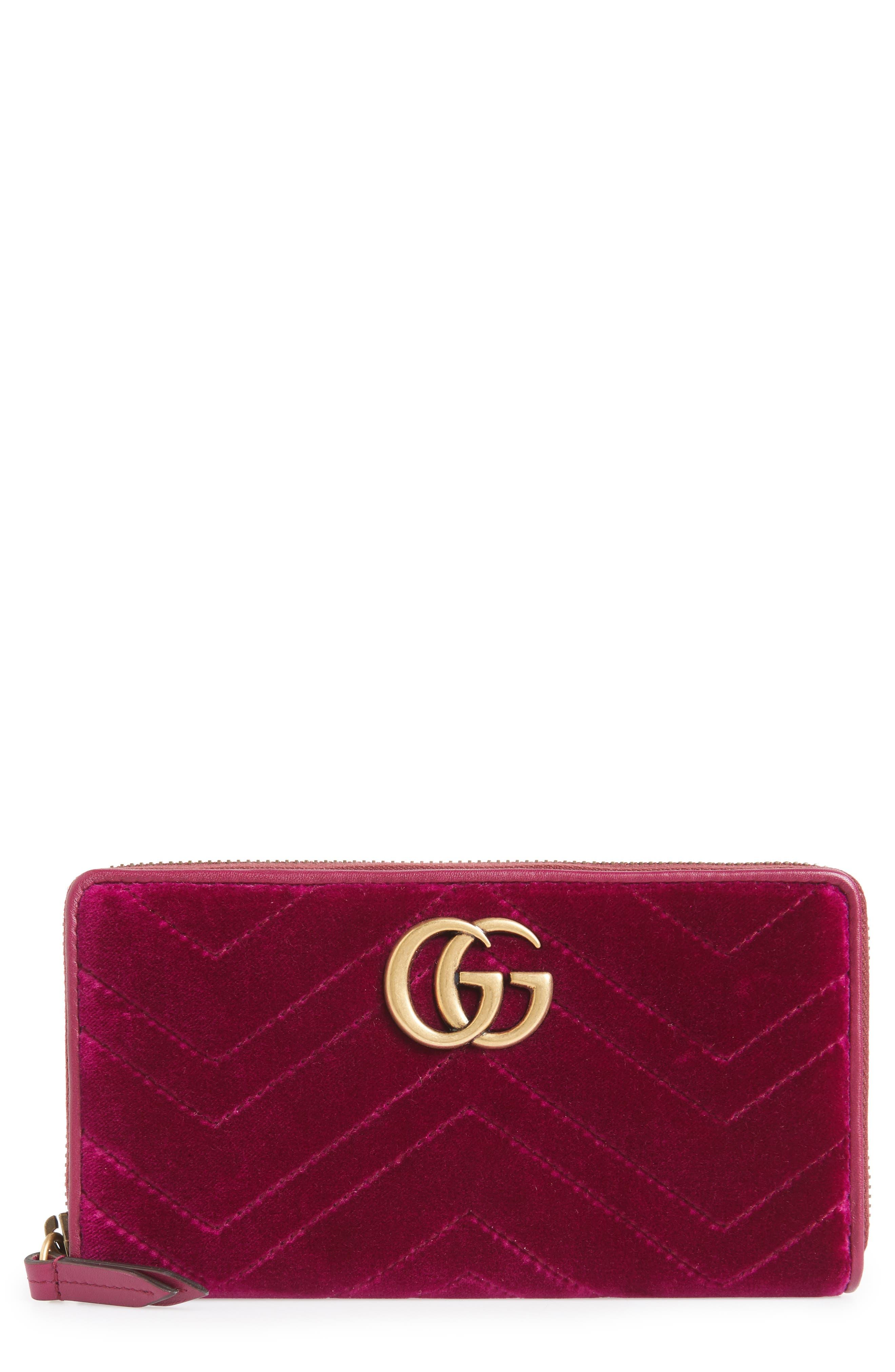 GG Marmont 2.0 Matelassé Velvet Wallet,                             Main thumbnail 1, color,                             FUCSIA/ VIOLA