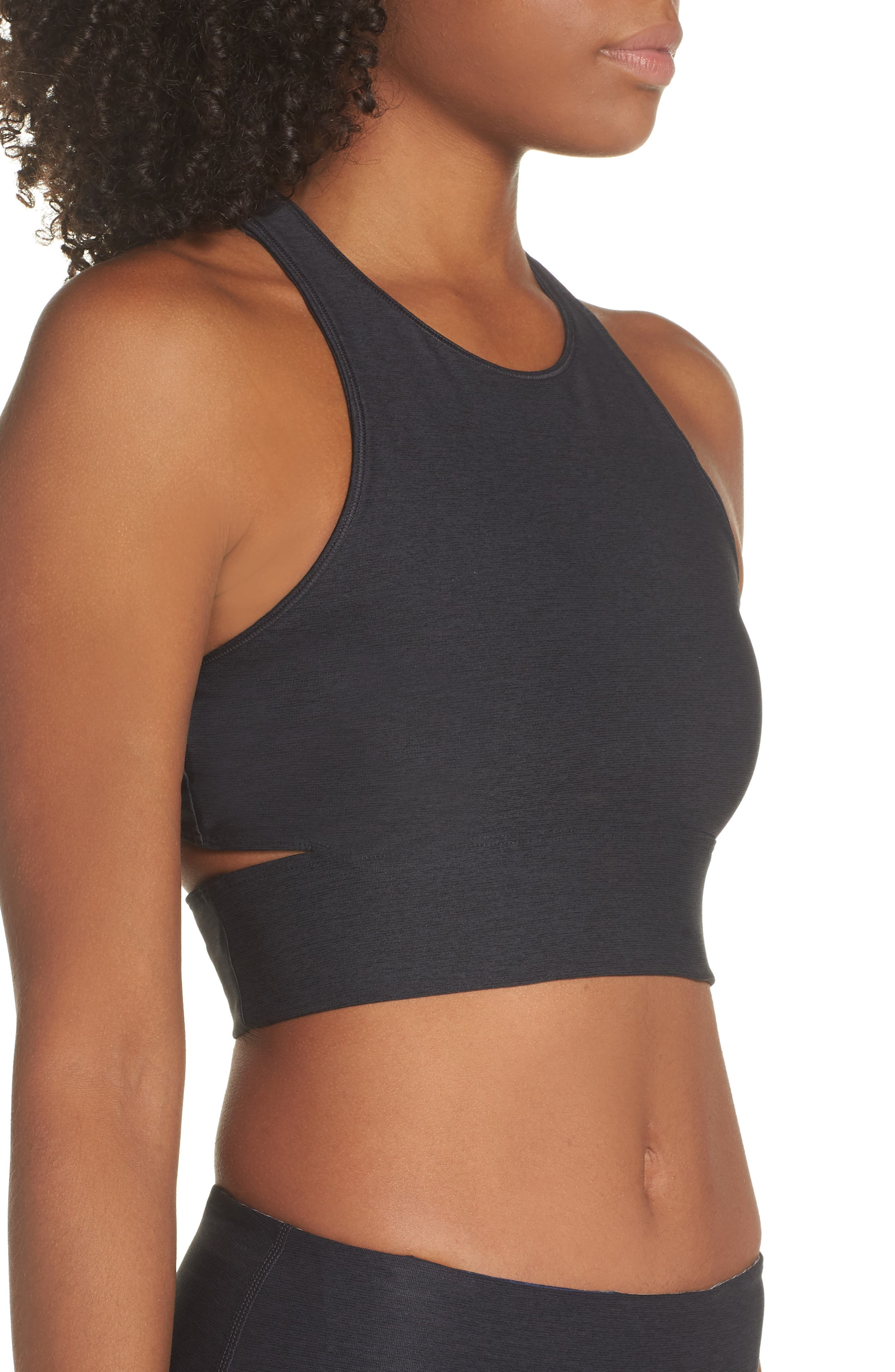 Slashback Crop Top,                             Alternate thumbnail 3, color,                             CHARCOAL