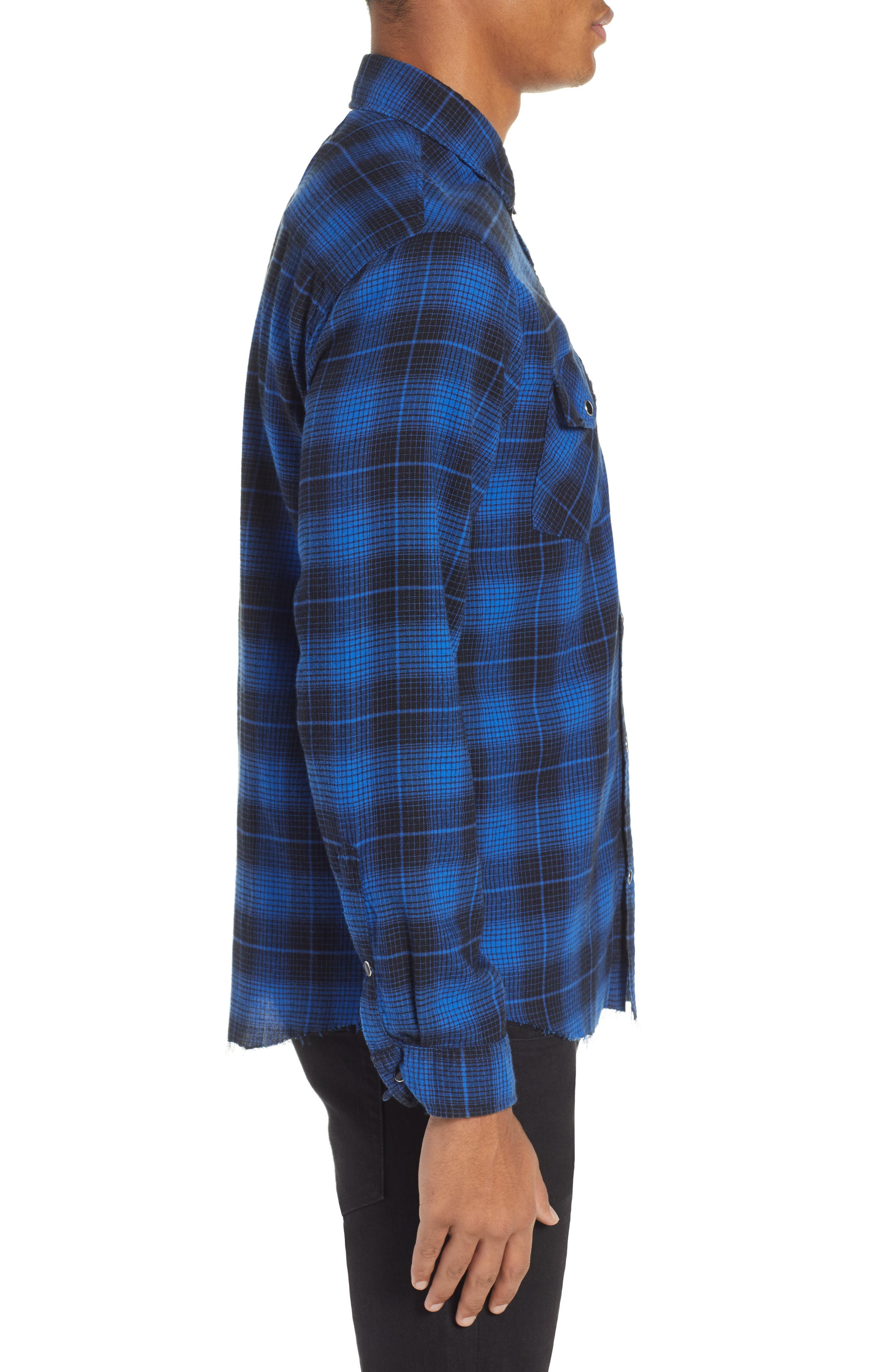 THE KOOPLES,                             Plaid Flannel Shirt,                             Alternate thumbnail 4, color,                             ROYAL BLUE / BLACK