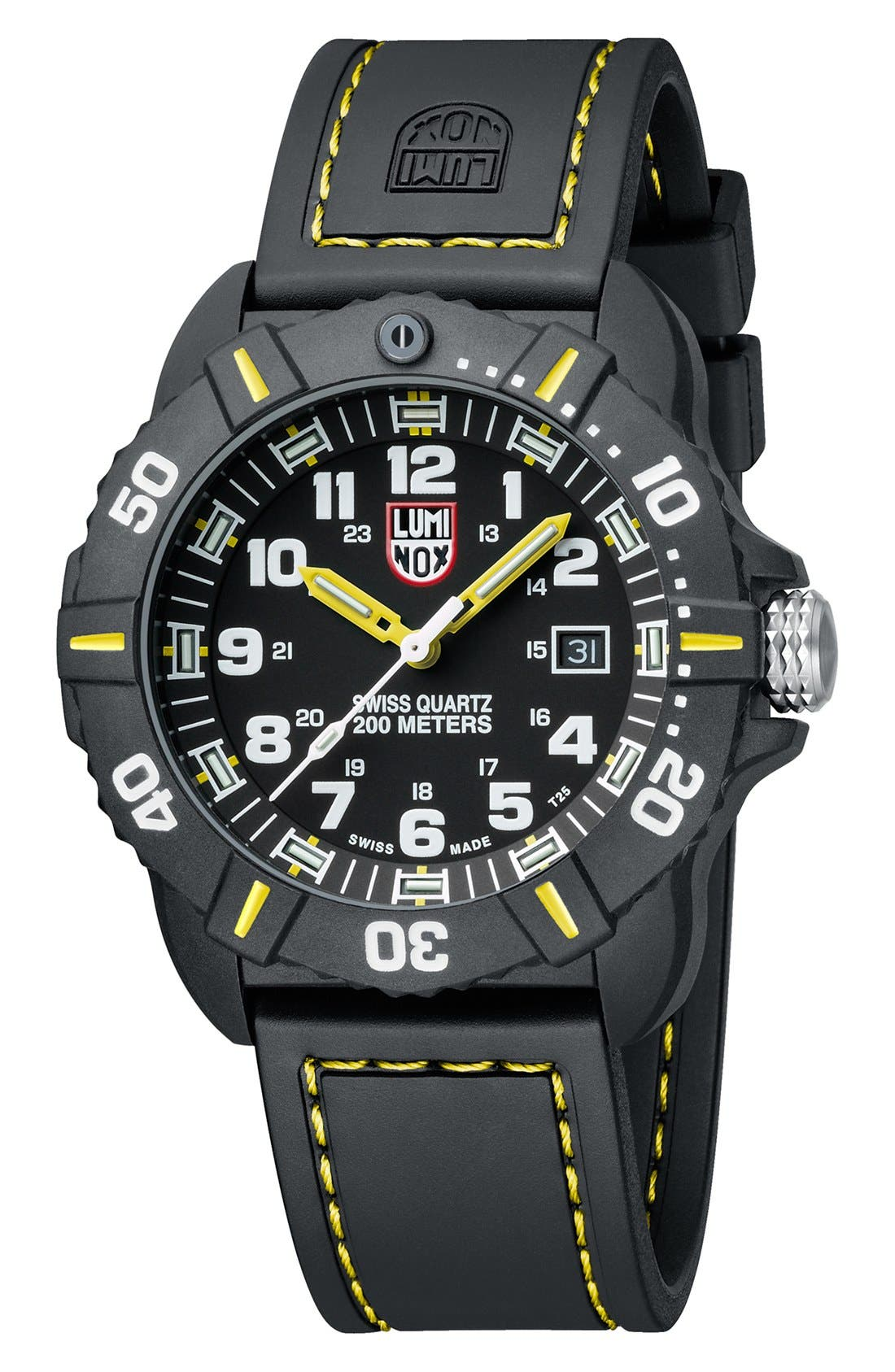 'Coronado' Rubber Strap Watch, 44mm,                             Alternate thumbnail 2, color,                             001