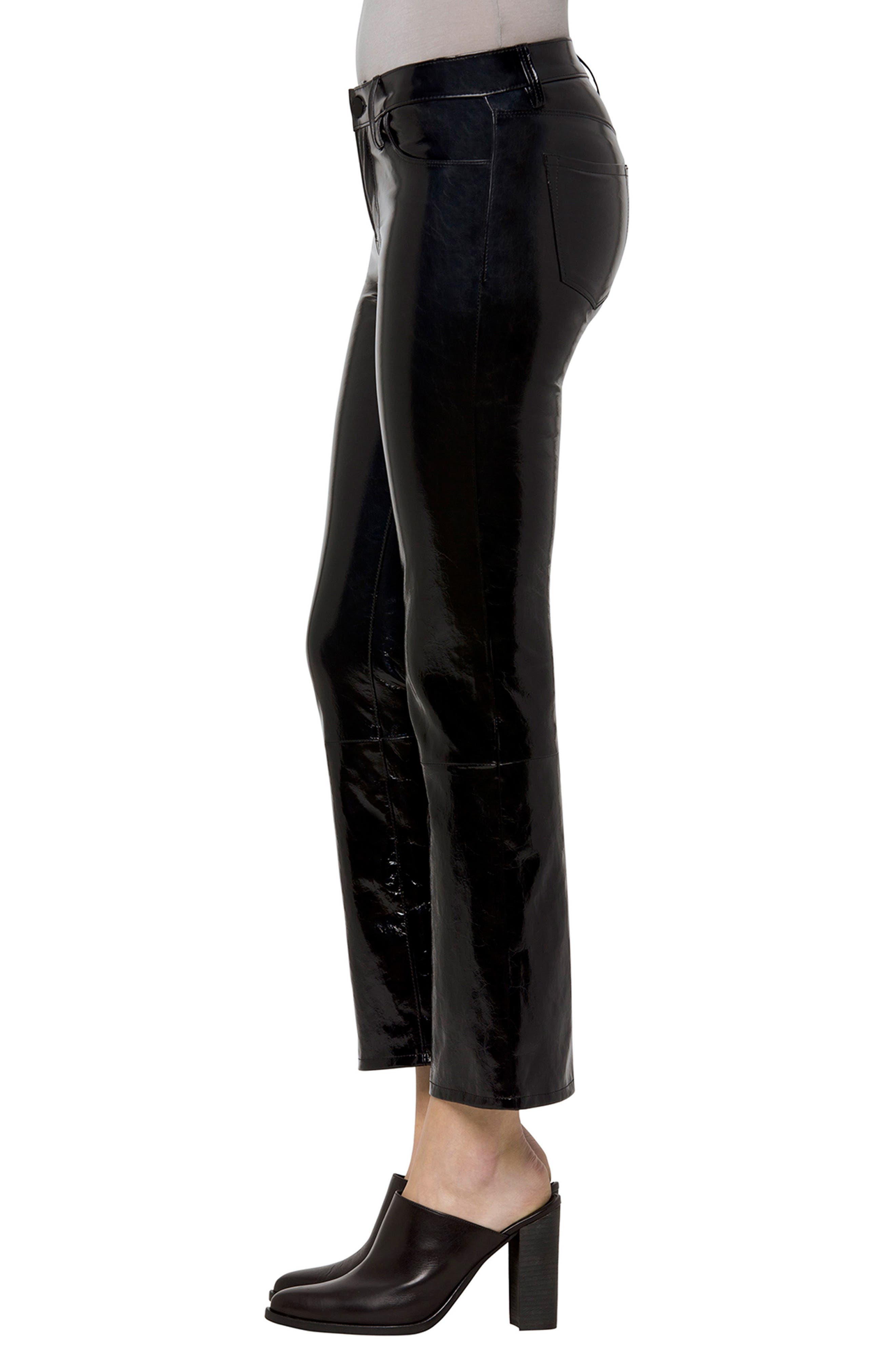Selena Crop Bootcut Patent Leather Jeans,                             Alternate thumbnail 3, color,                             PATENT BLACK