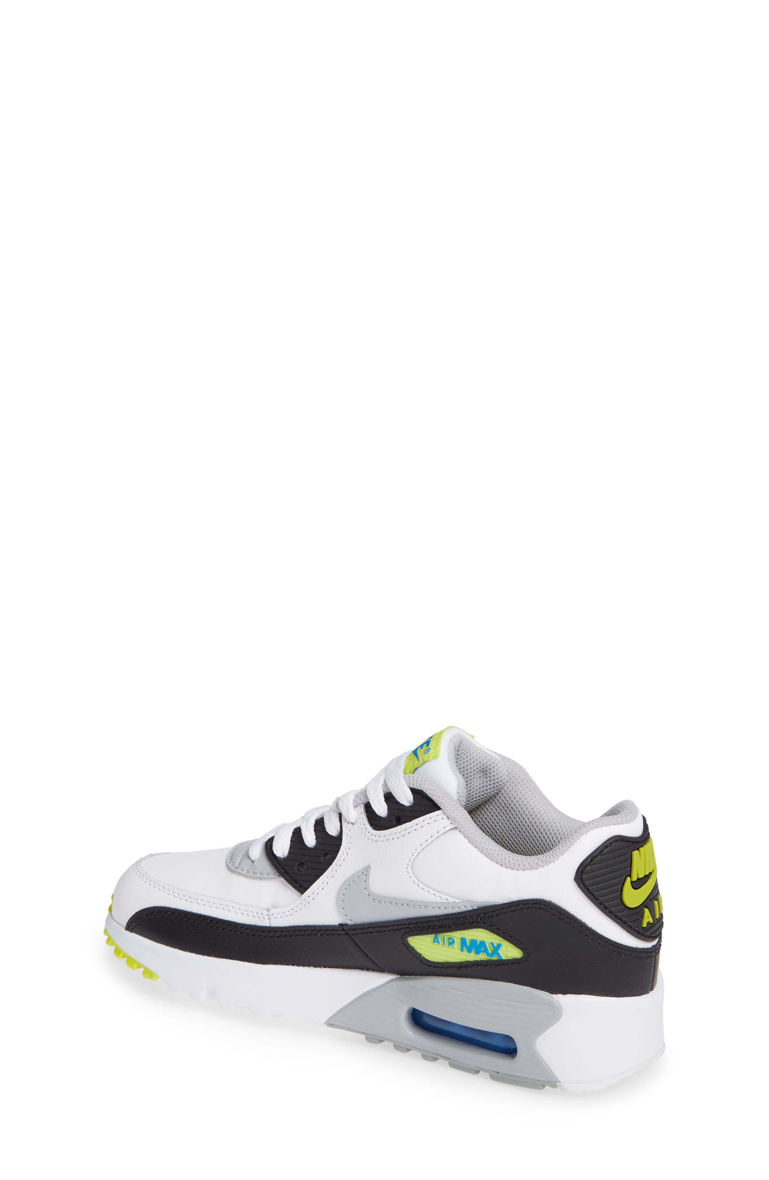 Air Max 90 Sneaker,                             Alternate thumbnail 2, color,                             WHITE/ WOLF GREY/ BLUE