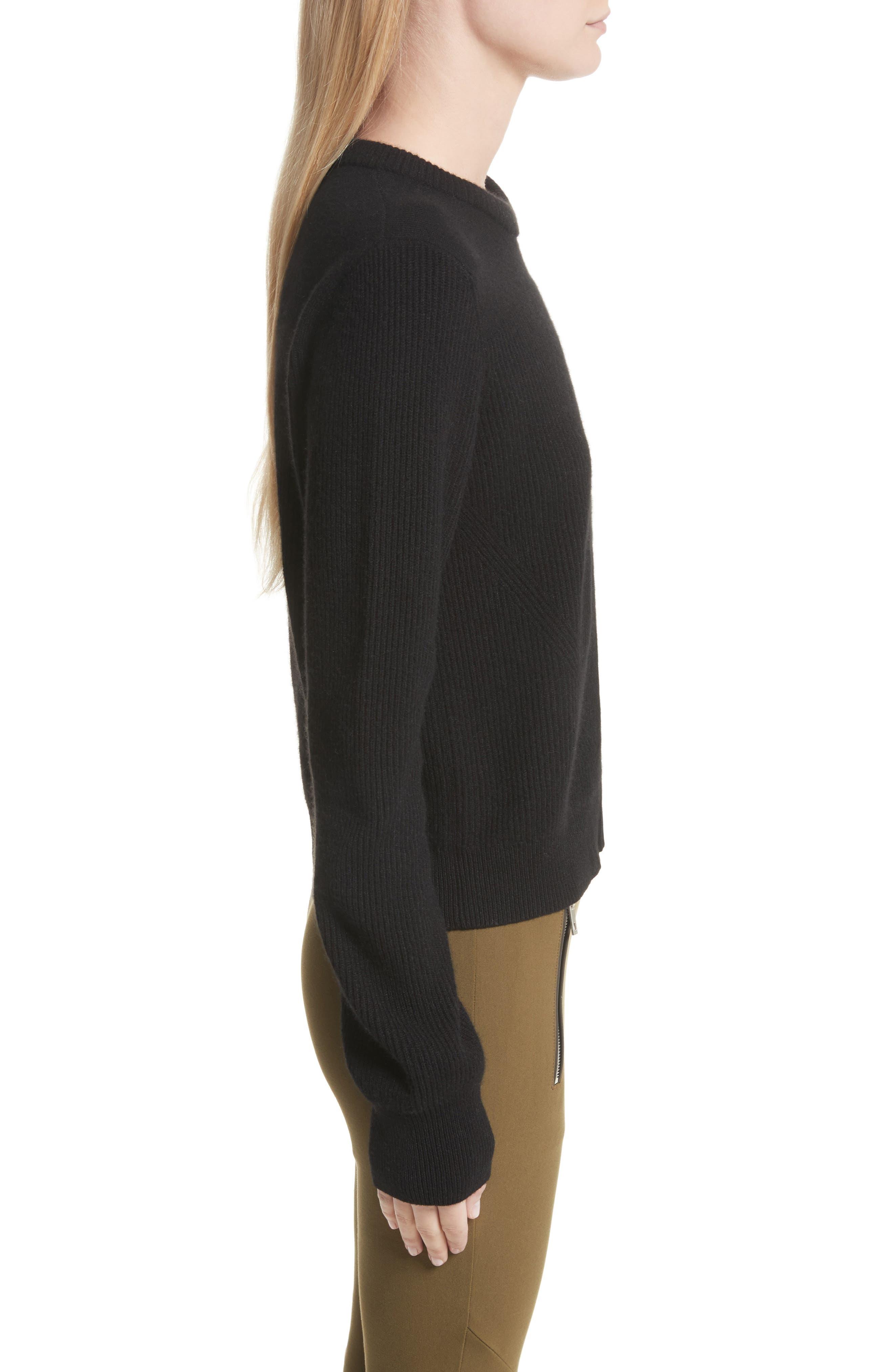 Ace Cashmere Crop Sweater,                             Alternate thumbnail 3, color,                             001