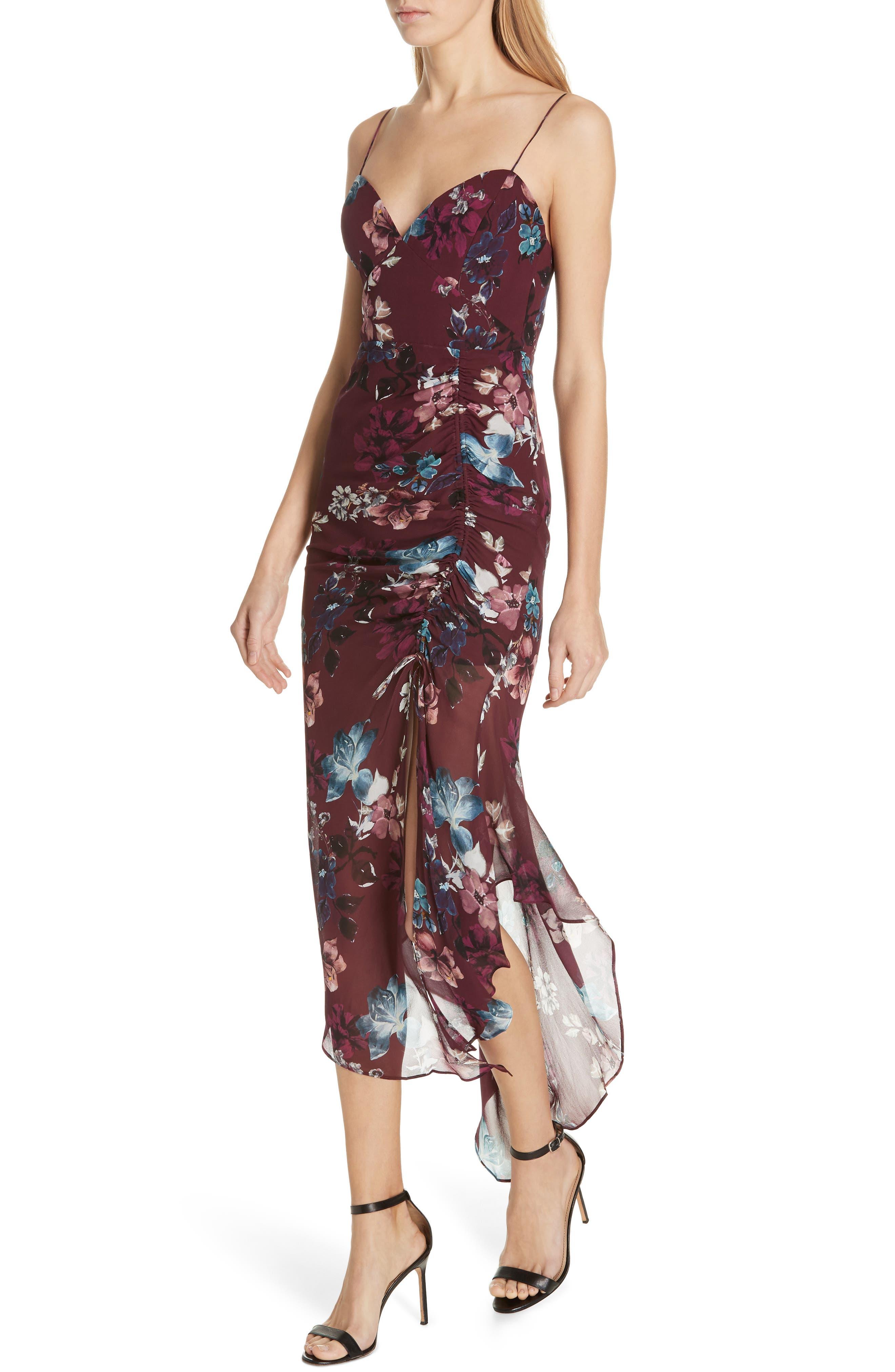Floral Silk Drawstring Dress,                             Alternate thumbnail 4, color,                             930